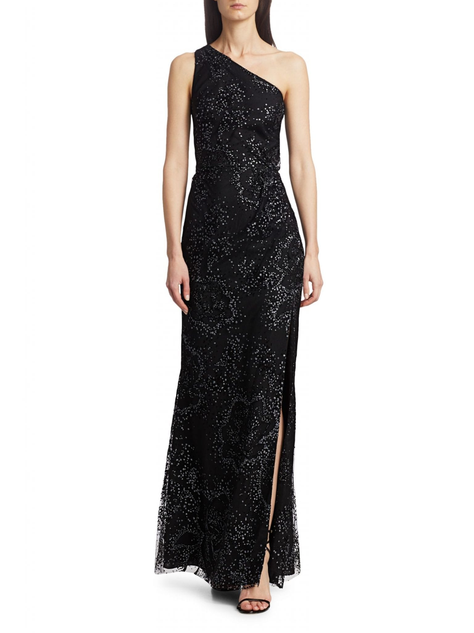 MARCHESA NOTTE Embellished One-Shoulder Gown