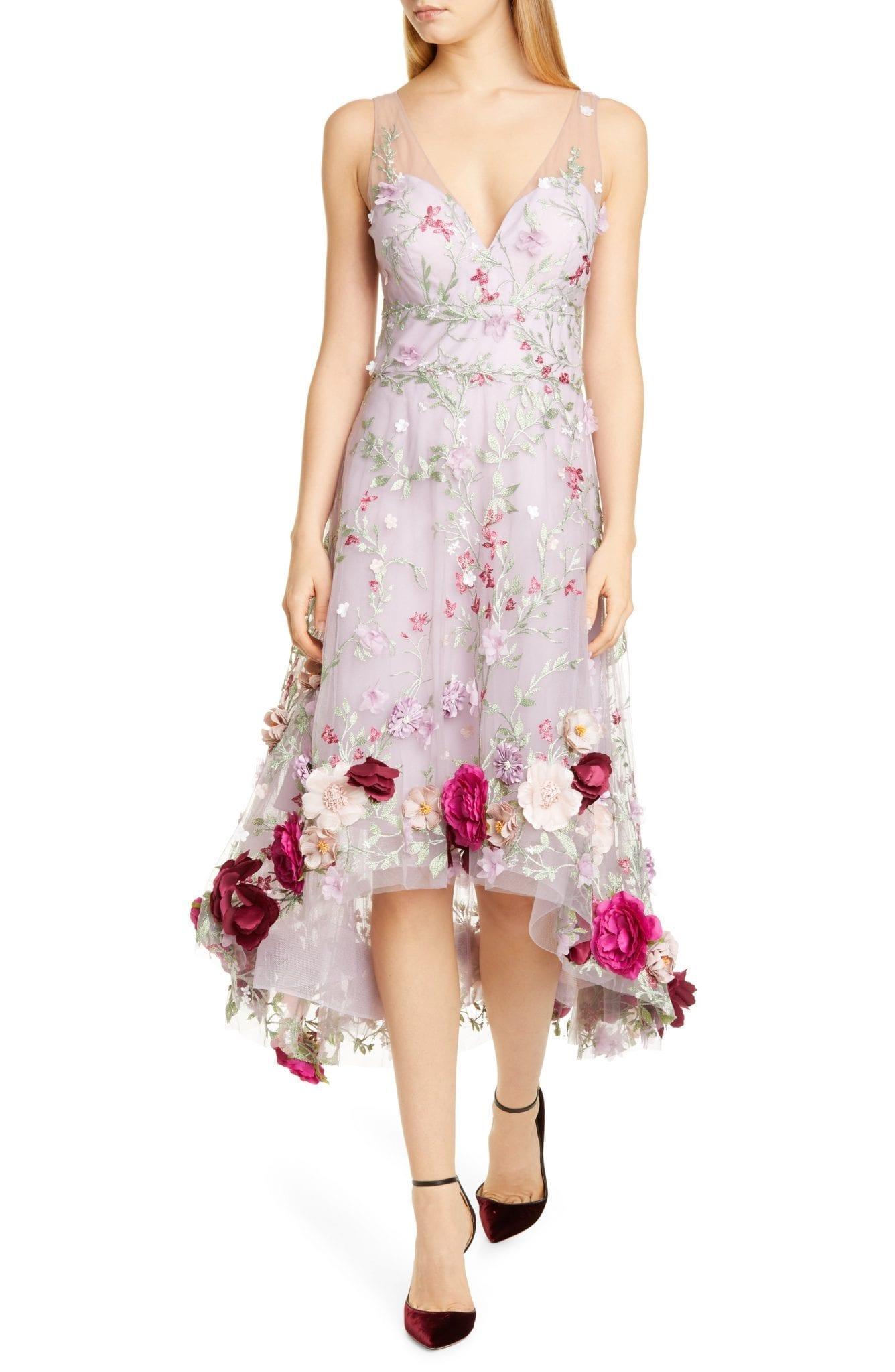 MARCHESA NOTTE Floral Appliqué High Low Cocktail Dress