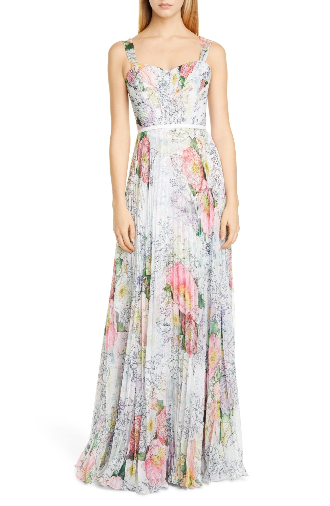 MARCHESA NOTTE Floral Pleated Tulle Gown