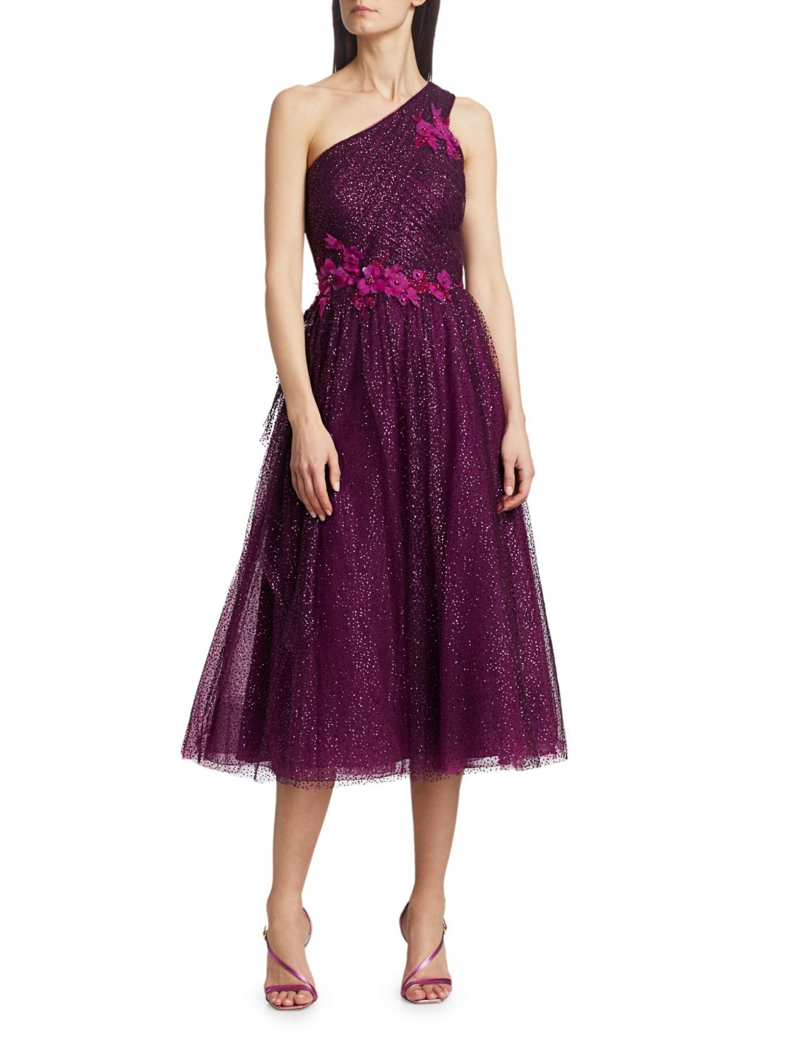 MARCHESA NOTTE Glitter Tulle One-Shoulder Dress