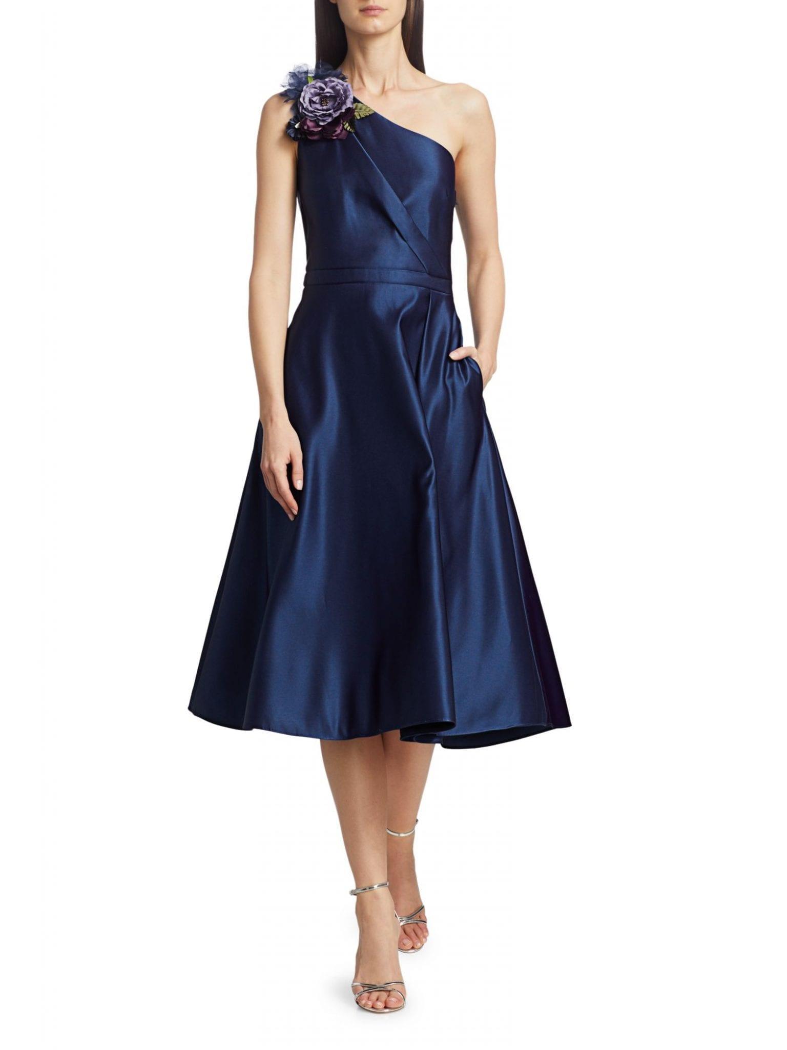 MARCHESA NOTTE One-Shoulder A-Line Dress