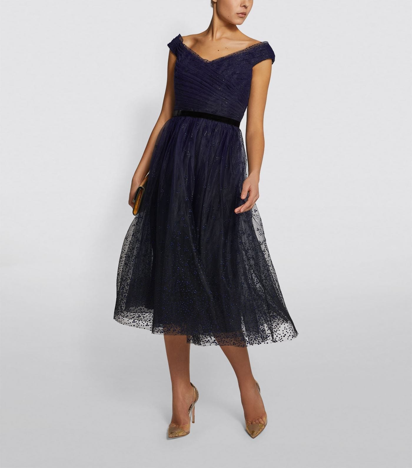 MARCHESA NOTTE Sequin-Embellished Tulle Dress