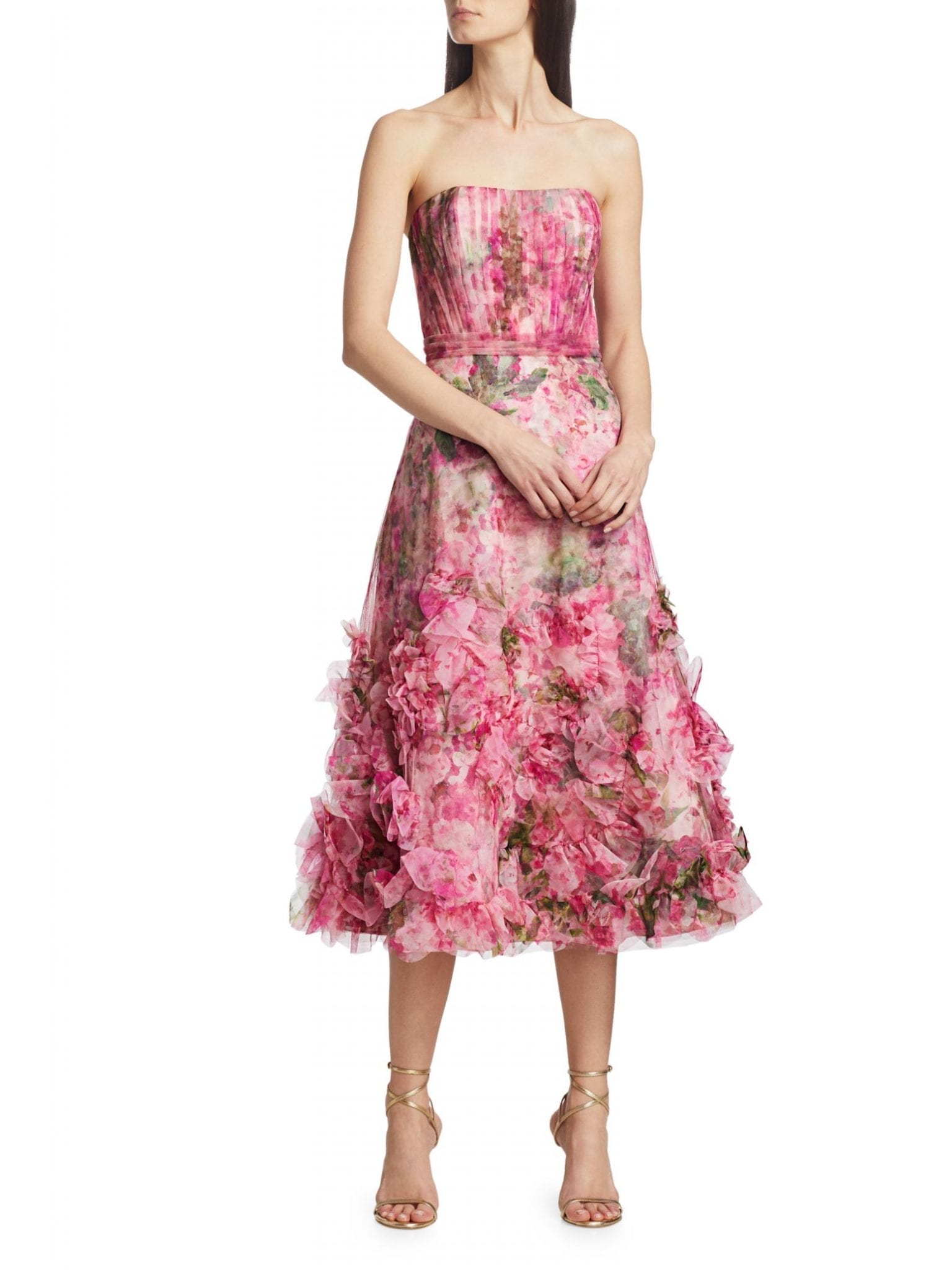 MARCHESA NOTTE Textured Printed A-Line Dress