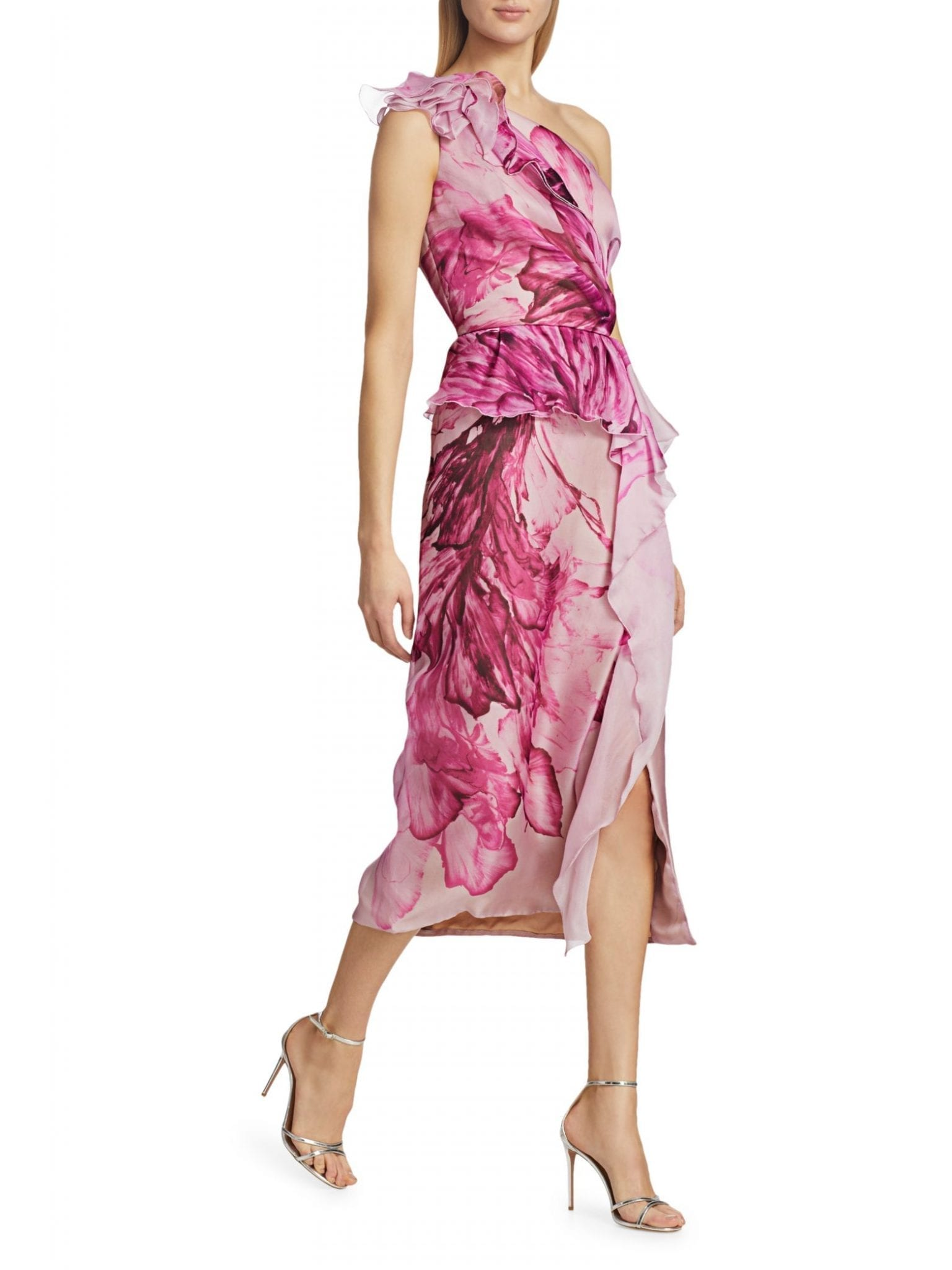 MARCHESA One-Shoulder Peplum Ruffle Cocktail Dress