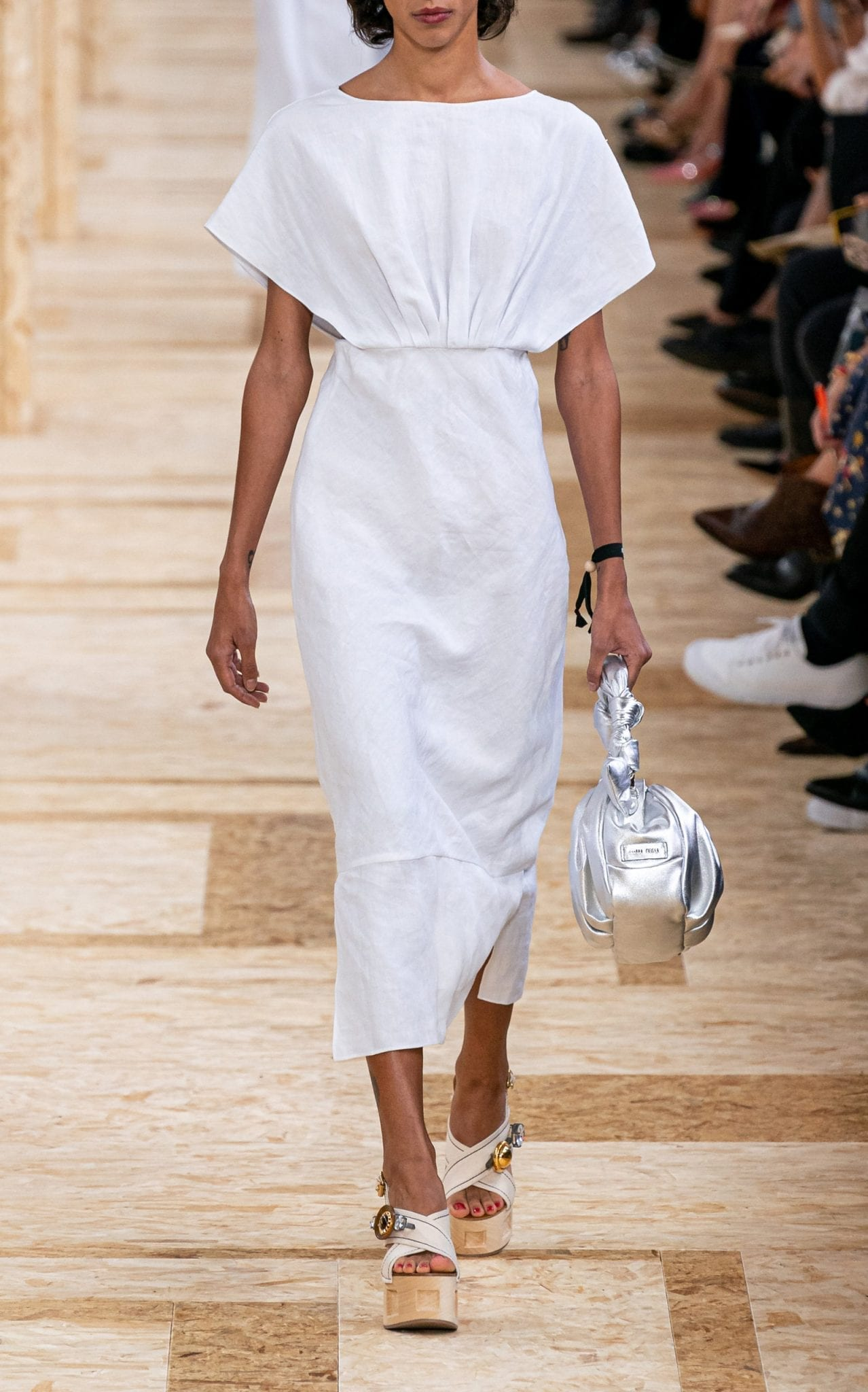 MIU MIU Drape-Detailed Linen Midi Dress