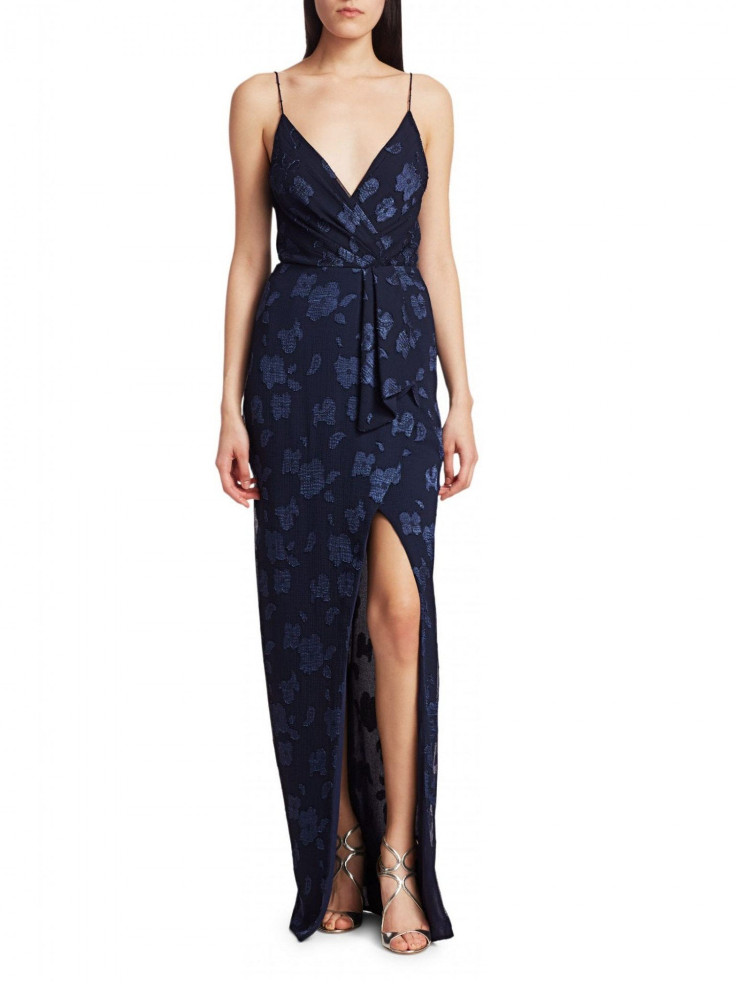 ML MONIQUE LHUILLIER Embroidered Floral Slit Gown