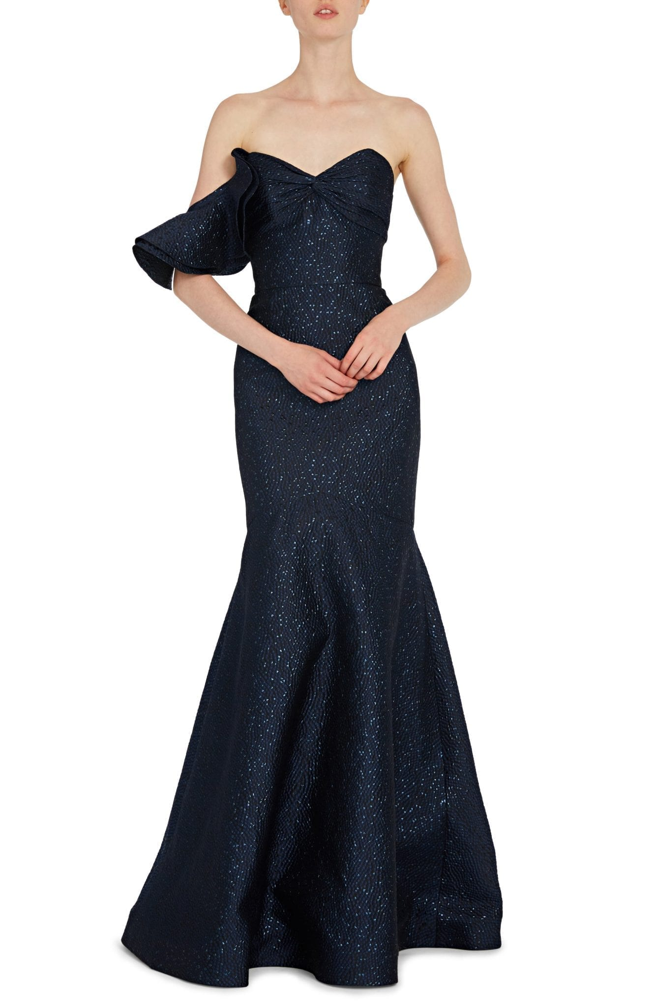 ML MONIQUE LHUILLIER One-Sleeve Metallic Trumpet Gown