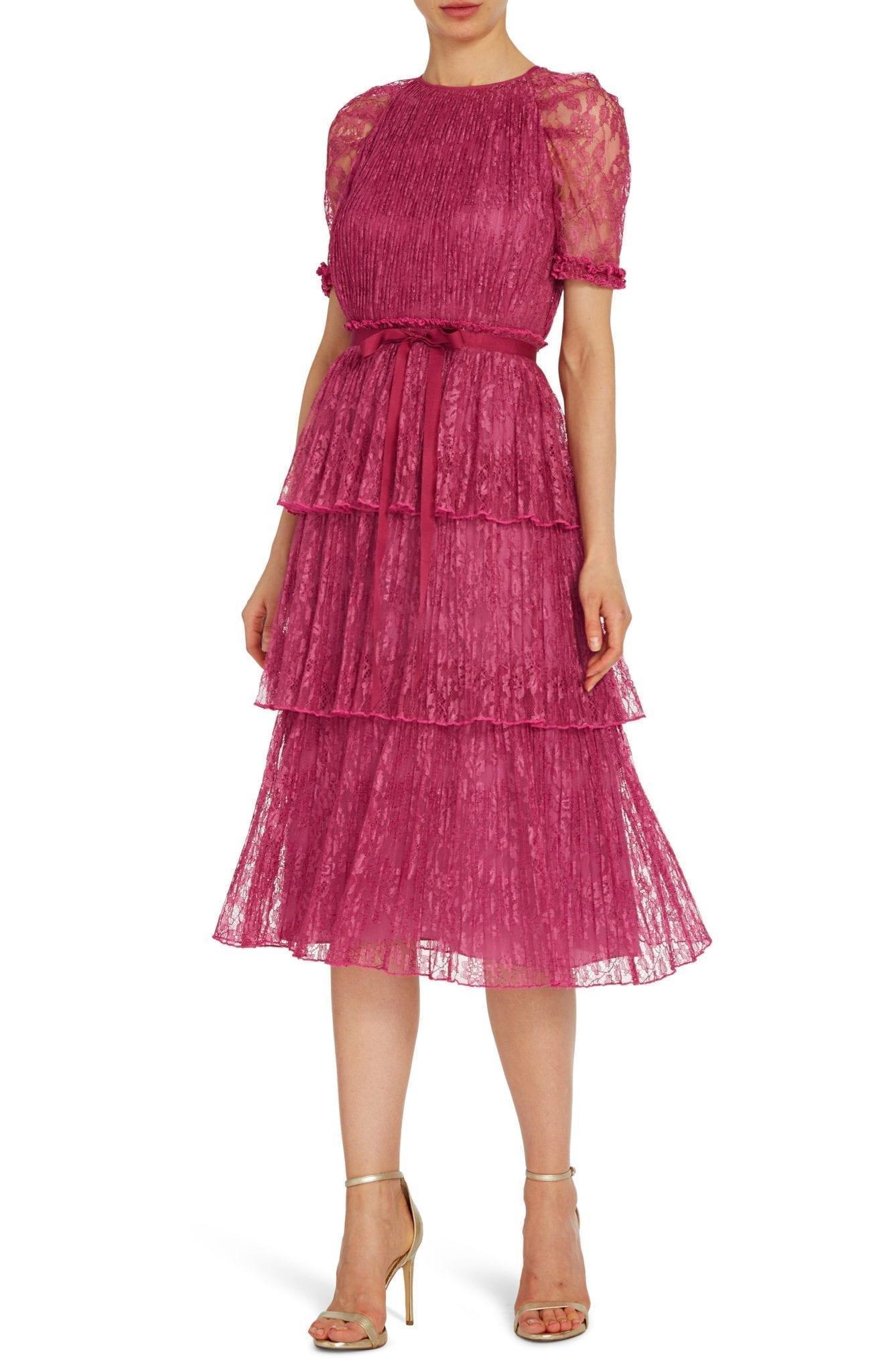 ML MONIQUE LHUILLIER Tier Lace Cocktail Midi Dress