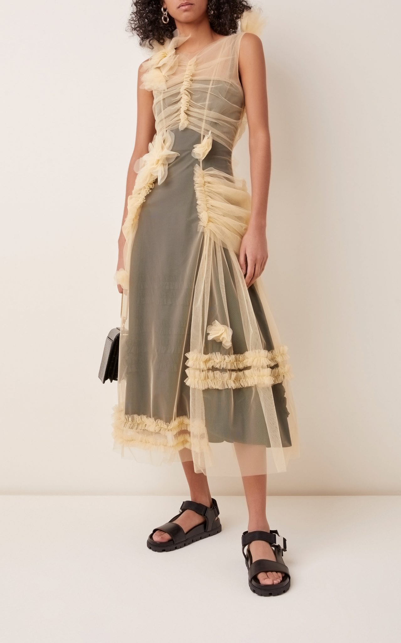 MOLLY GODDARD Cosmo Ruched Tulle Midi Dress