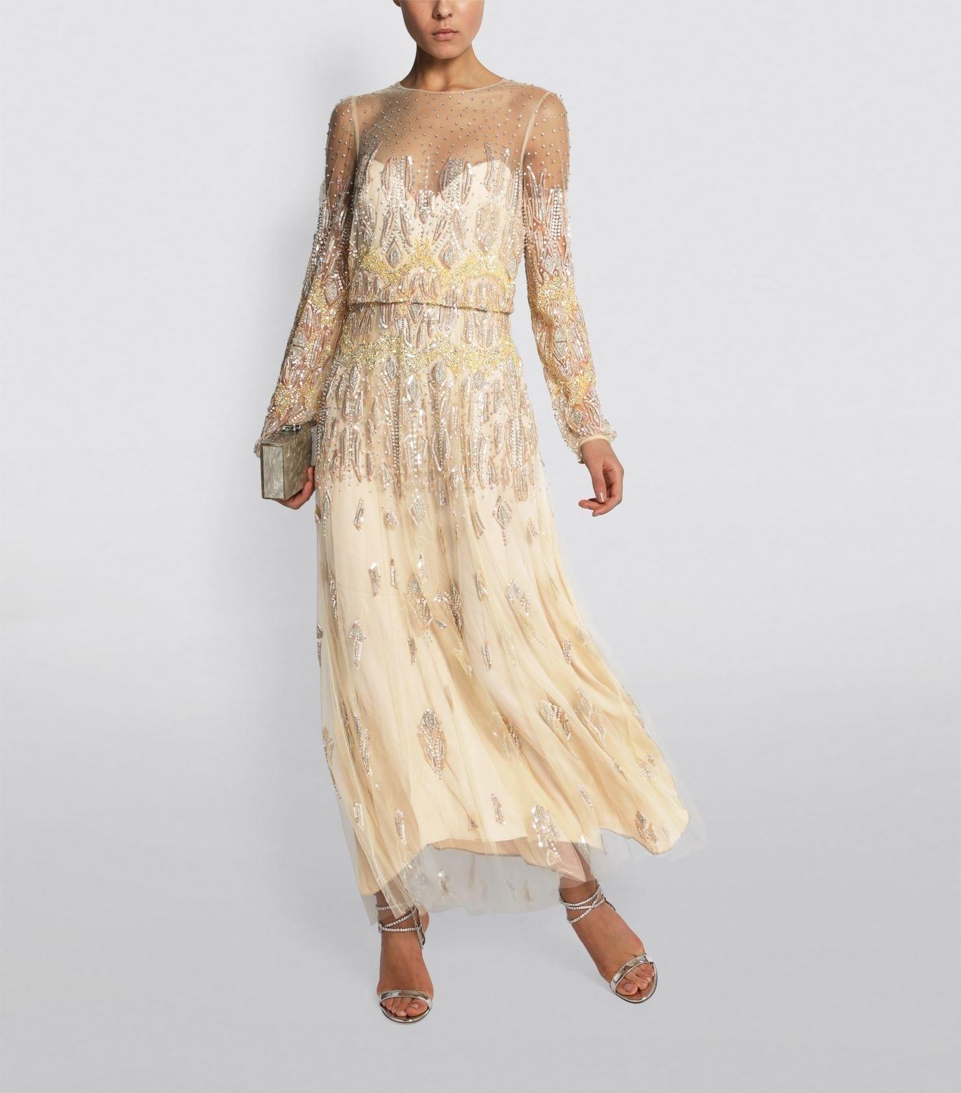 MONIQUE LHUILLIER Beaded Tulle Midi Dress
