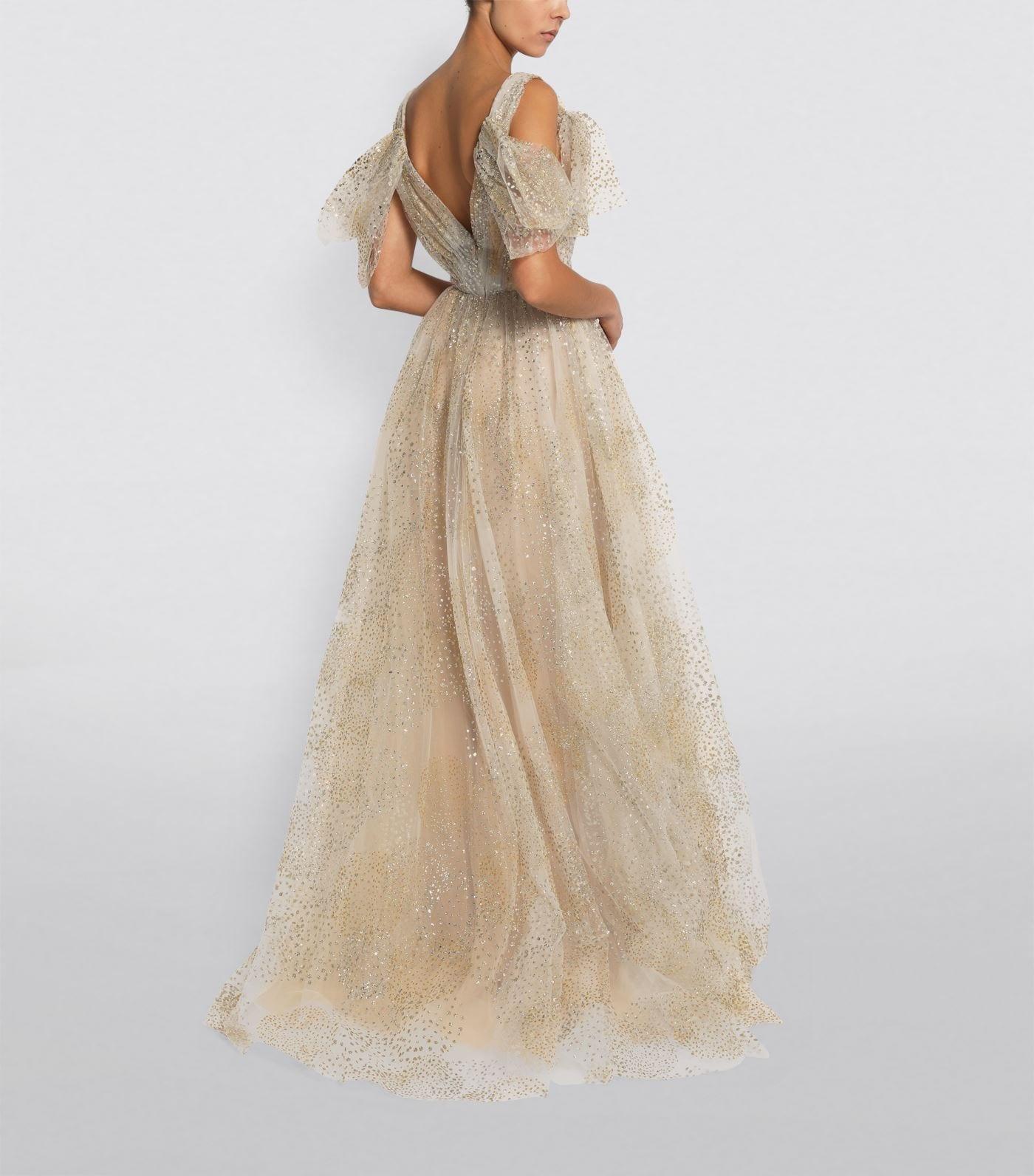 MONIQUE LHUILLIER Glitter Tulle Gown