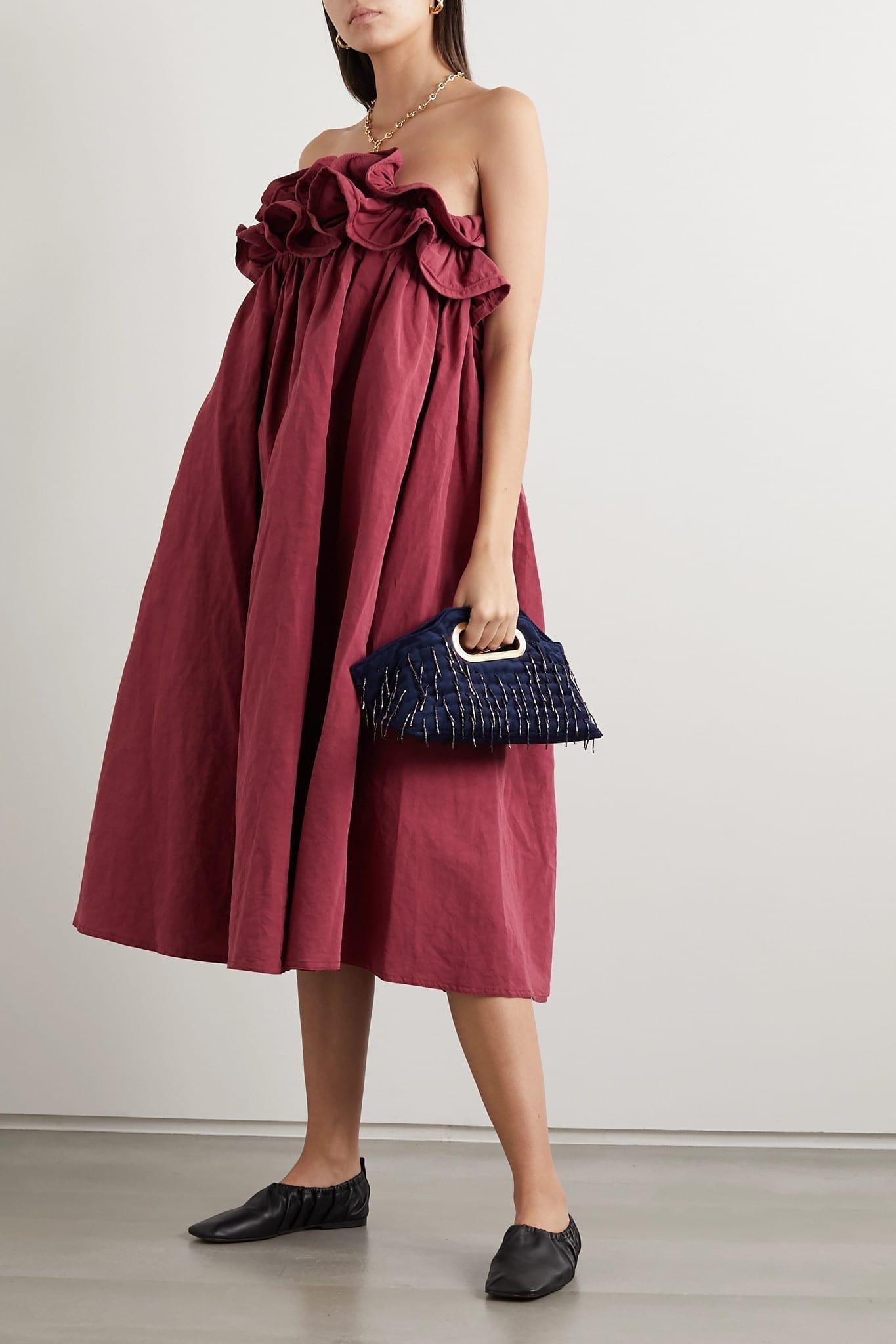 NACKIYÉ Milk Pudding Strapless Ruffled Cotton, Linen And Silk-blend Midi Dress