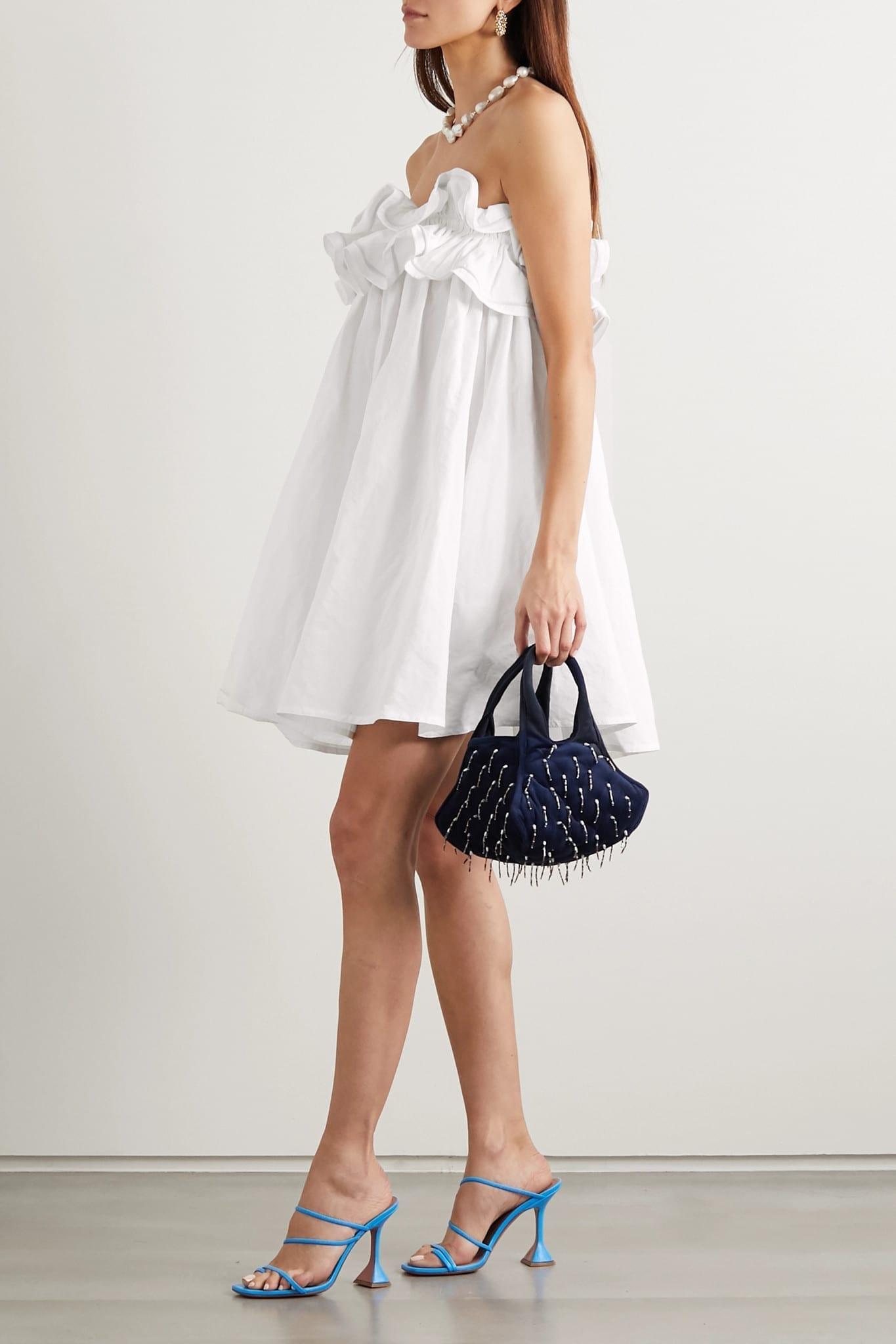 NACKIYÉ Milk Pudding Strapless Ruffled Cotton, Linen And Silk-blend Mini Dress