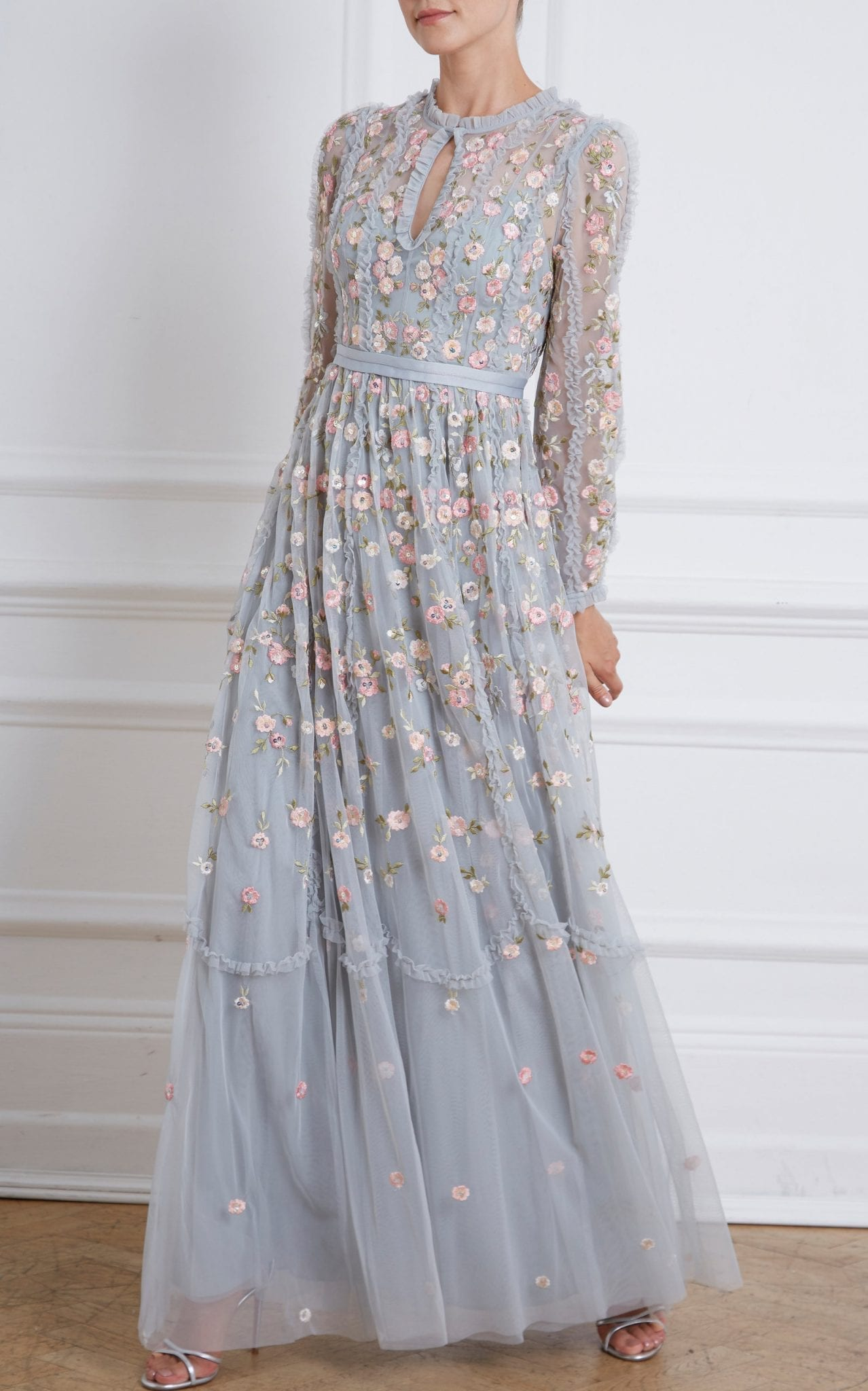 NEEDLE & THREAD Wallflower Embroidered Tulle Gown