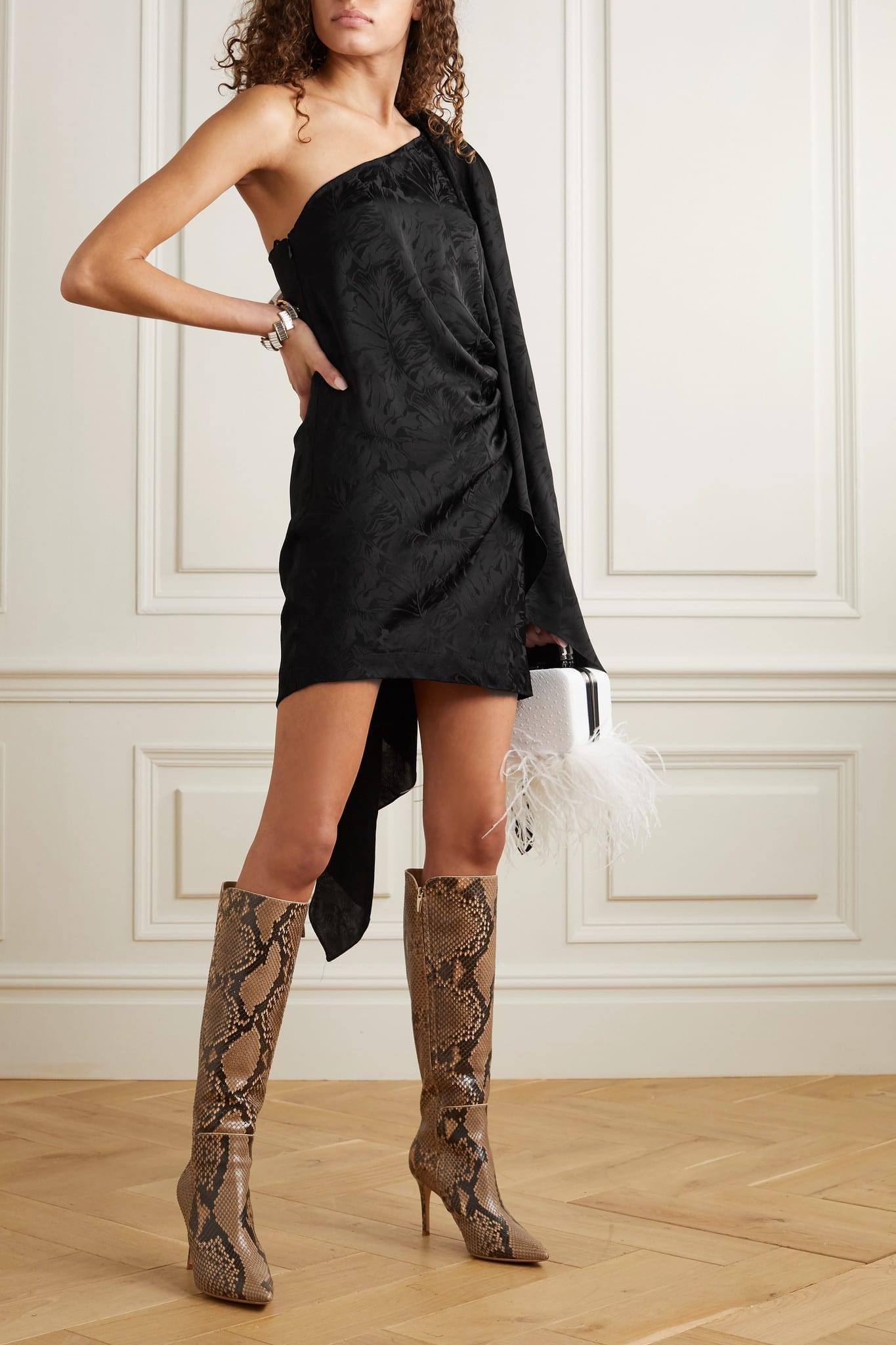 NERVI Bianca B One-sleeve Draped Floral-jacquard Mini Dress