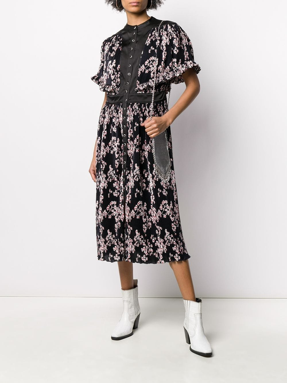 PACO RABANNE Floral-print Pleated Midi Dress