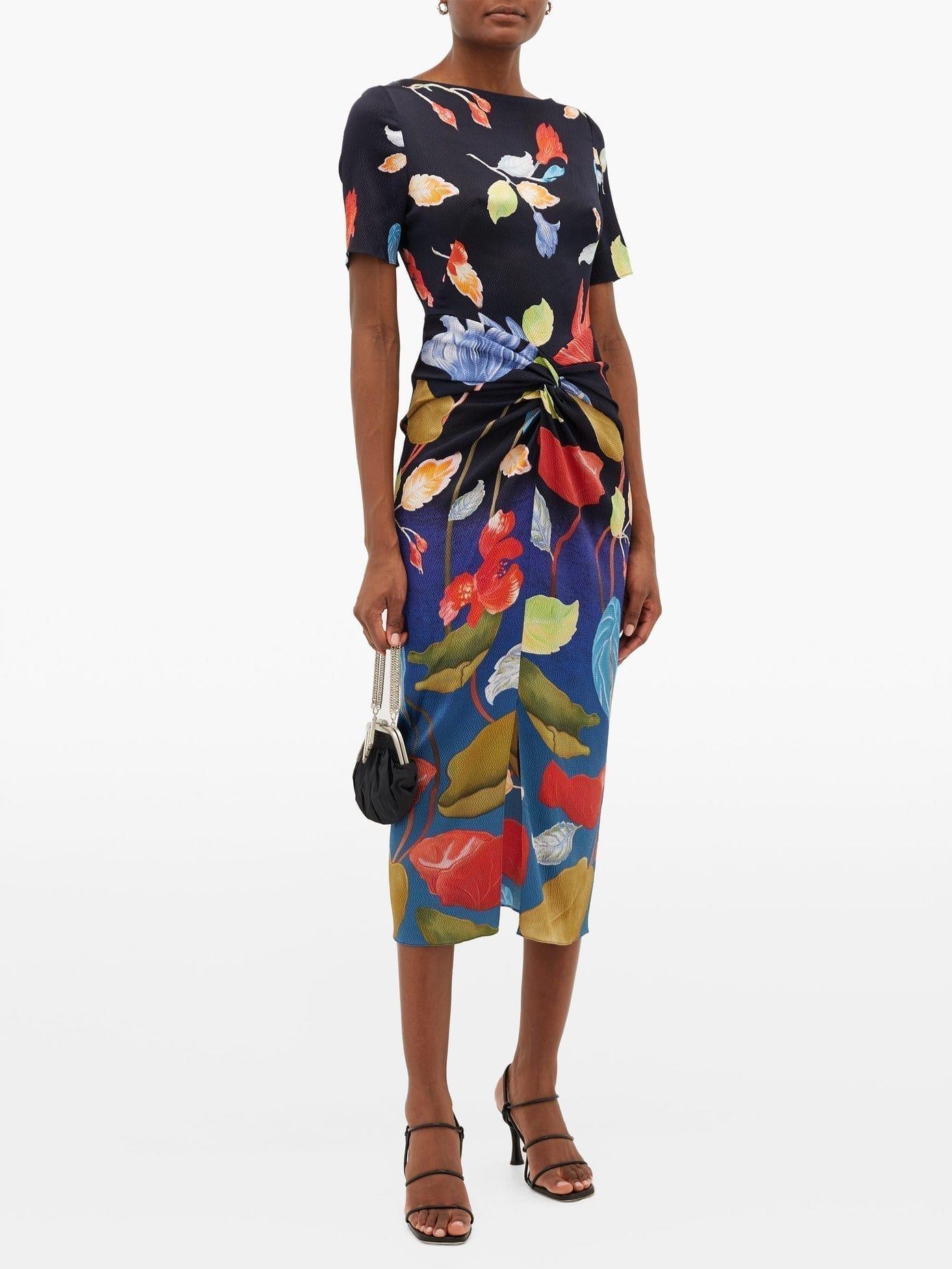 PETER PILOTTO Waterflower-print Knotted-front Silk-blend Dress