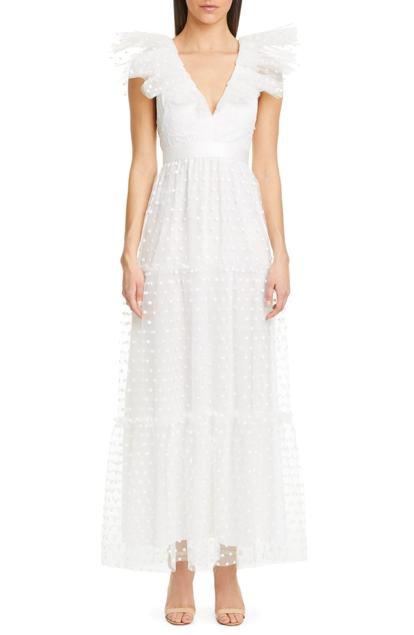PHILOSOPHY DI LORENZO SERAFINI Swiss Dot Tulle Gown