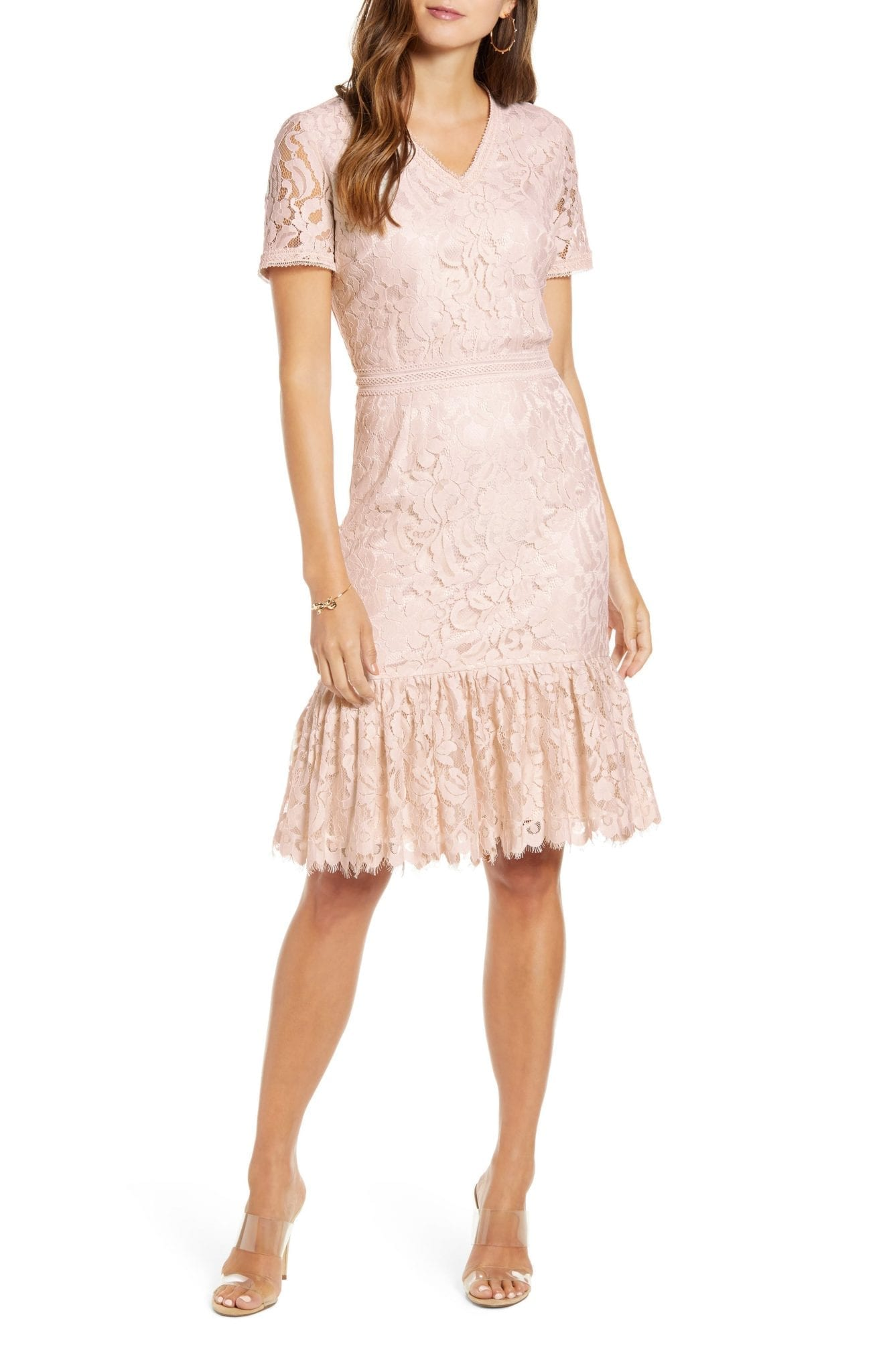 RACHEL PARCELL Lace Ruffle Hem Dress