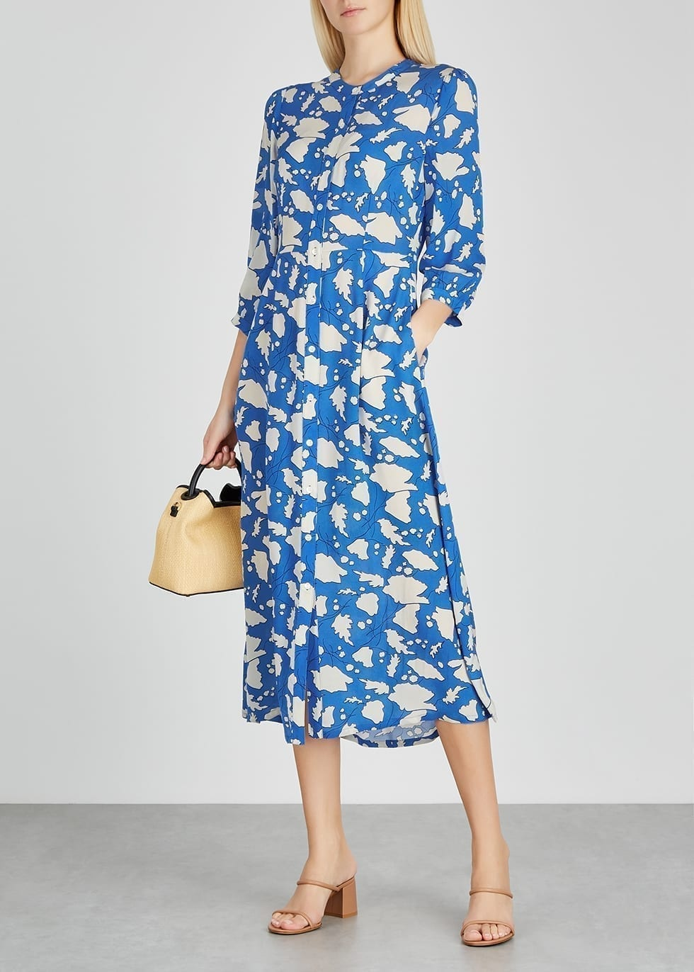 RAQUEL ALLEGRA Dreamer Blue Printed Silk Midi Dress