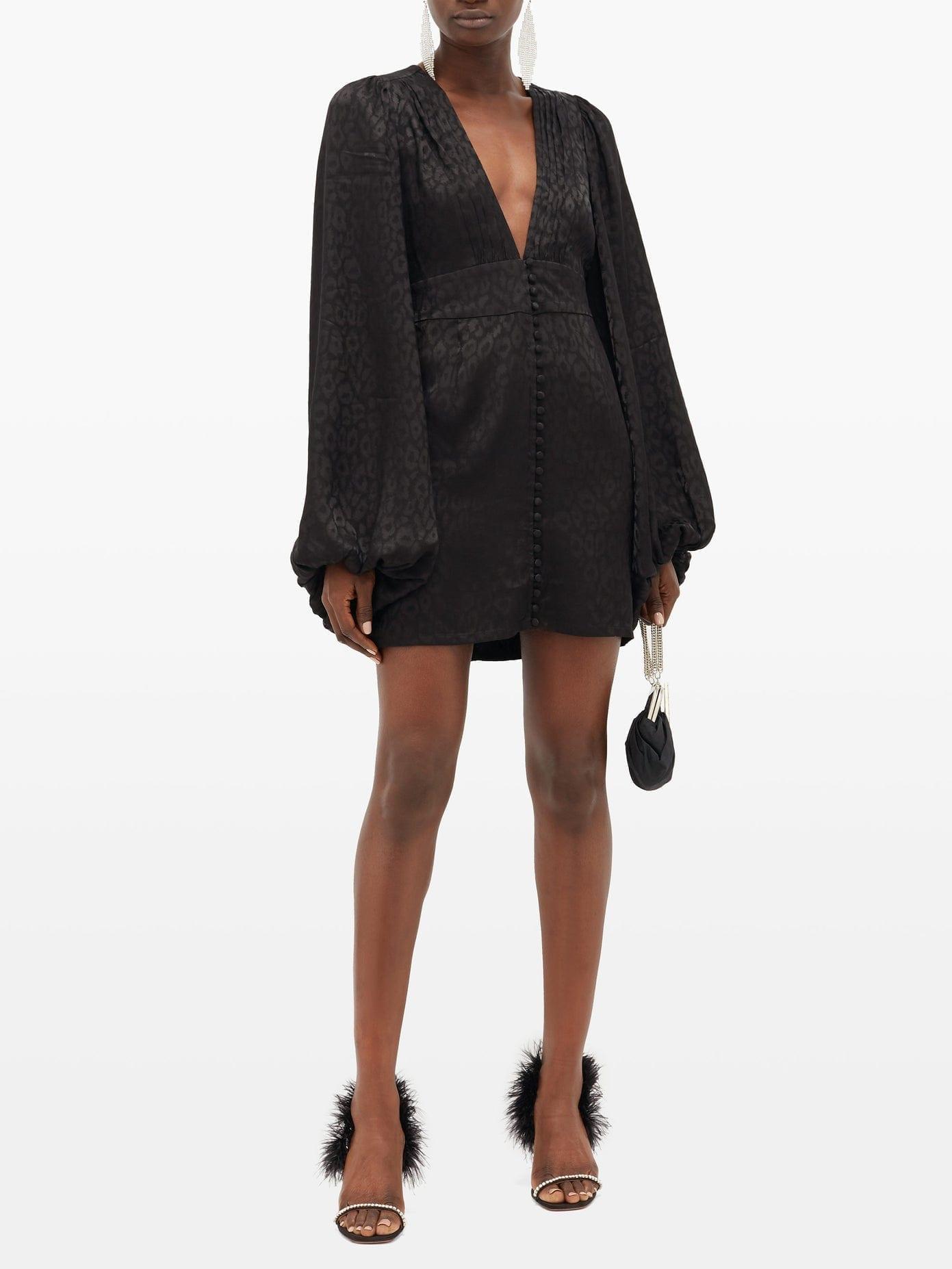 RAT & BOA Isabella Leopard-jacquard Satin Mini Dress