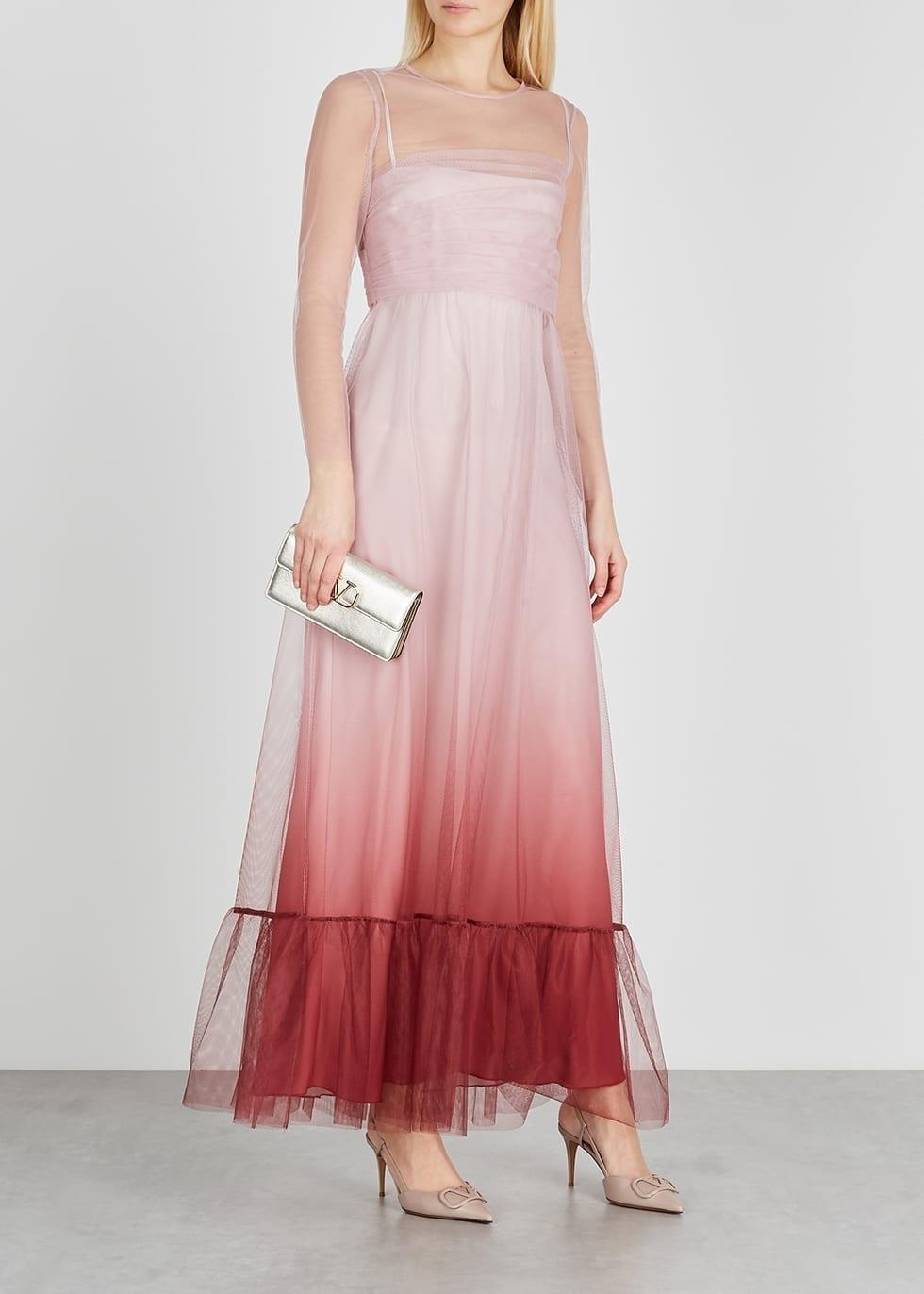 RED VALENTINO Pink Dégradé Tulle Maxi Dress