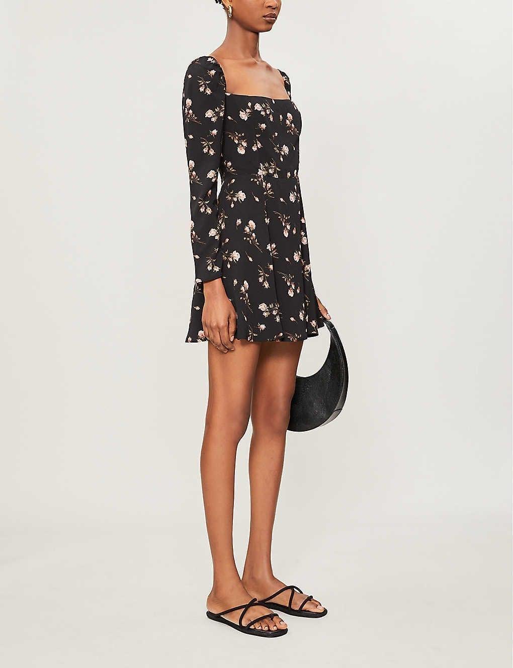 REFORMATION Floral-print Crepe Mini Dress