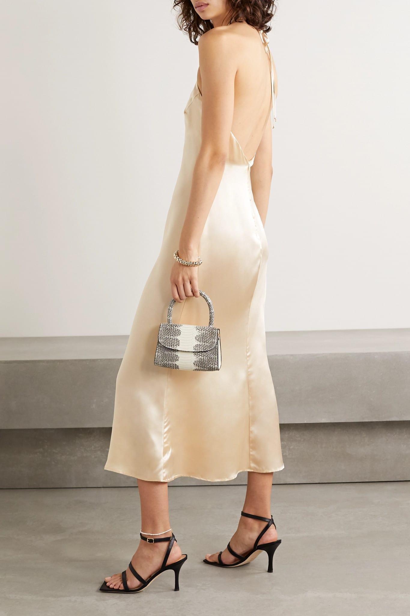 REFORMATION Reggie Silk-satin Halterneck Midi Dress