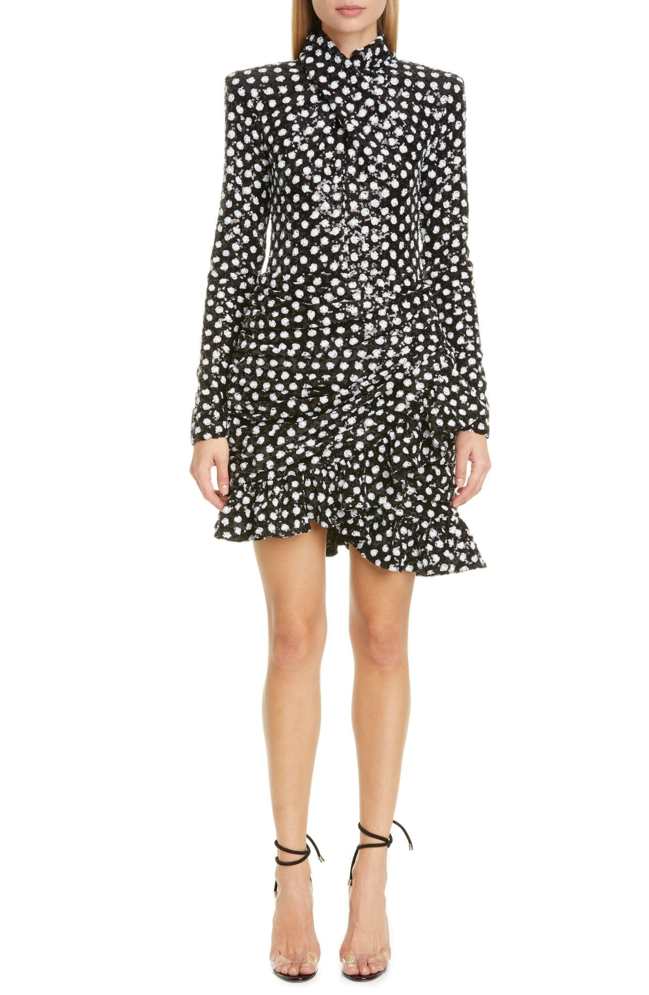 RICHARD QUINN Rara Dot Sequin Long Sleeve Mini Dress