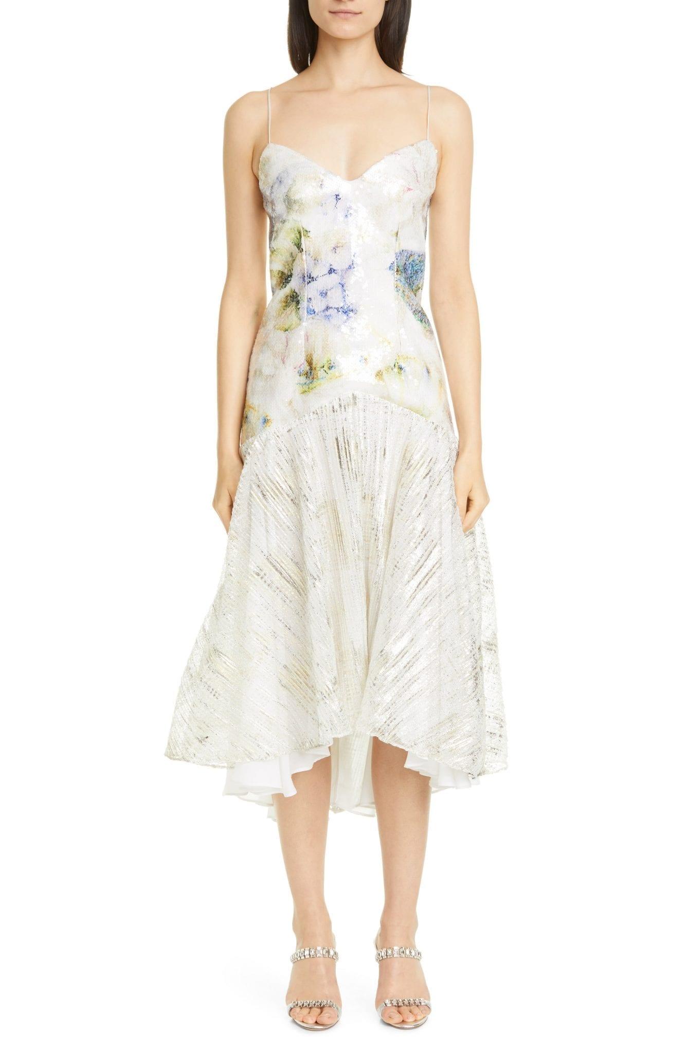 RODARTE Floral Sequin High Low Slip Dress