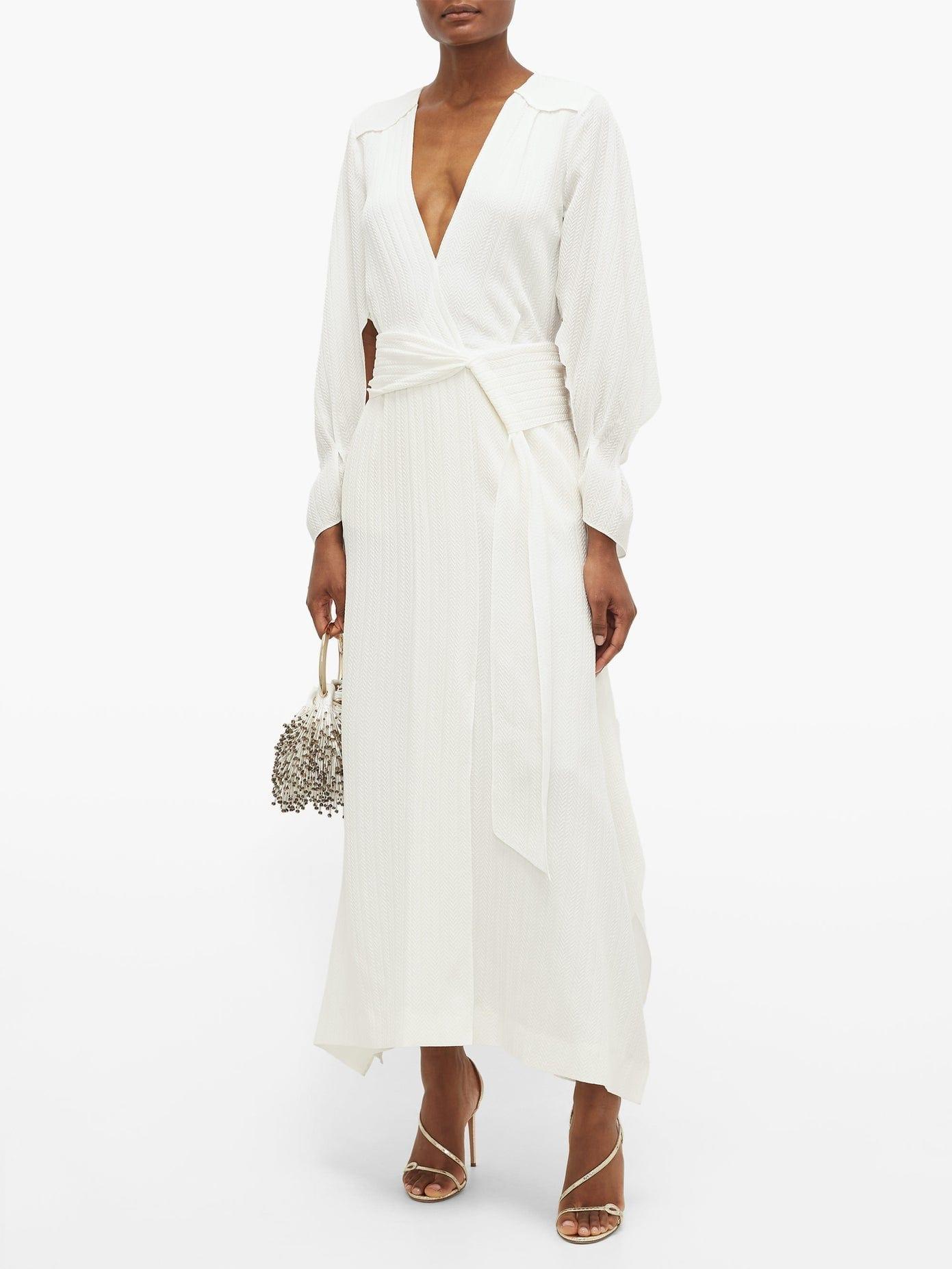 ROLAND MOURET Springbrooke Chevron-jacquard Silk-crepe Dress