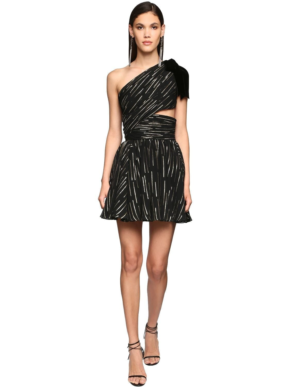 SAINT LAURENT One-shoulder Lamé Mini Dress