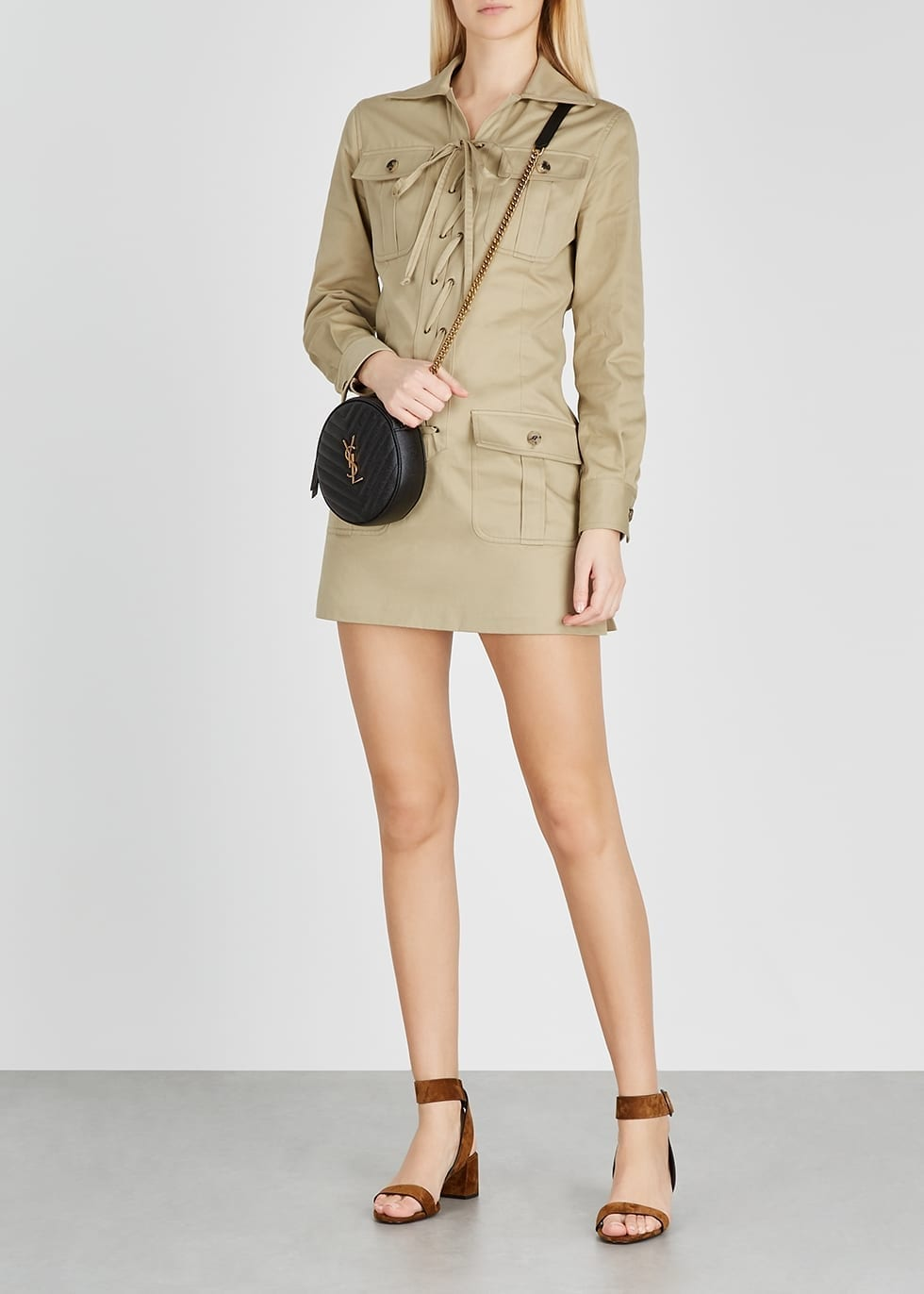 SAINT LAURENT Sand Lace-up Twill Mini Dress