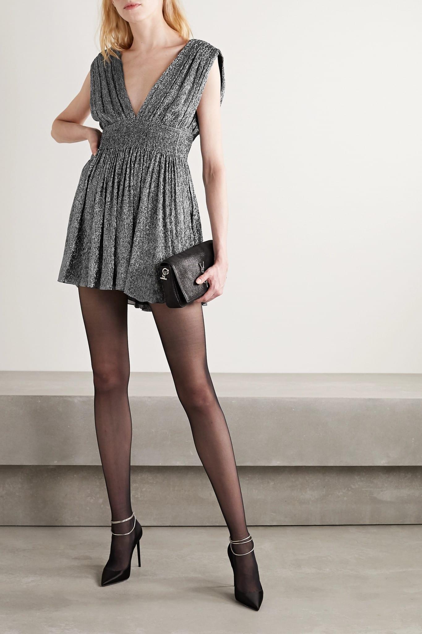 SAINT LAURENT Smocked Metallic Silk-blend Mini Dress