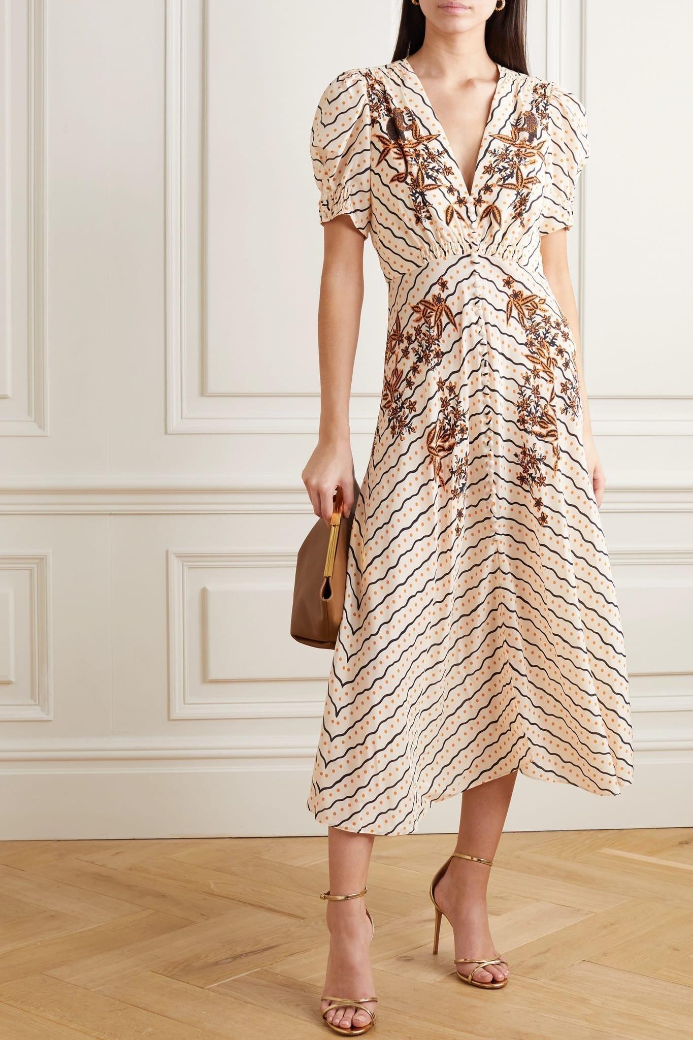 SALONI Lea Button-embellished Printed Silk Crepe De Chine Midi Dress