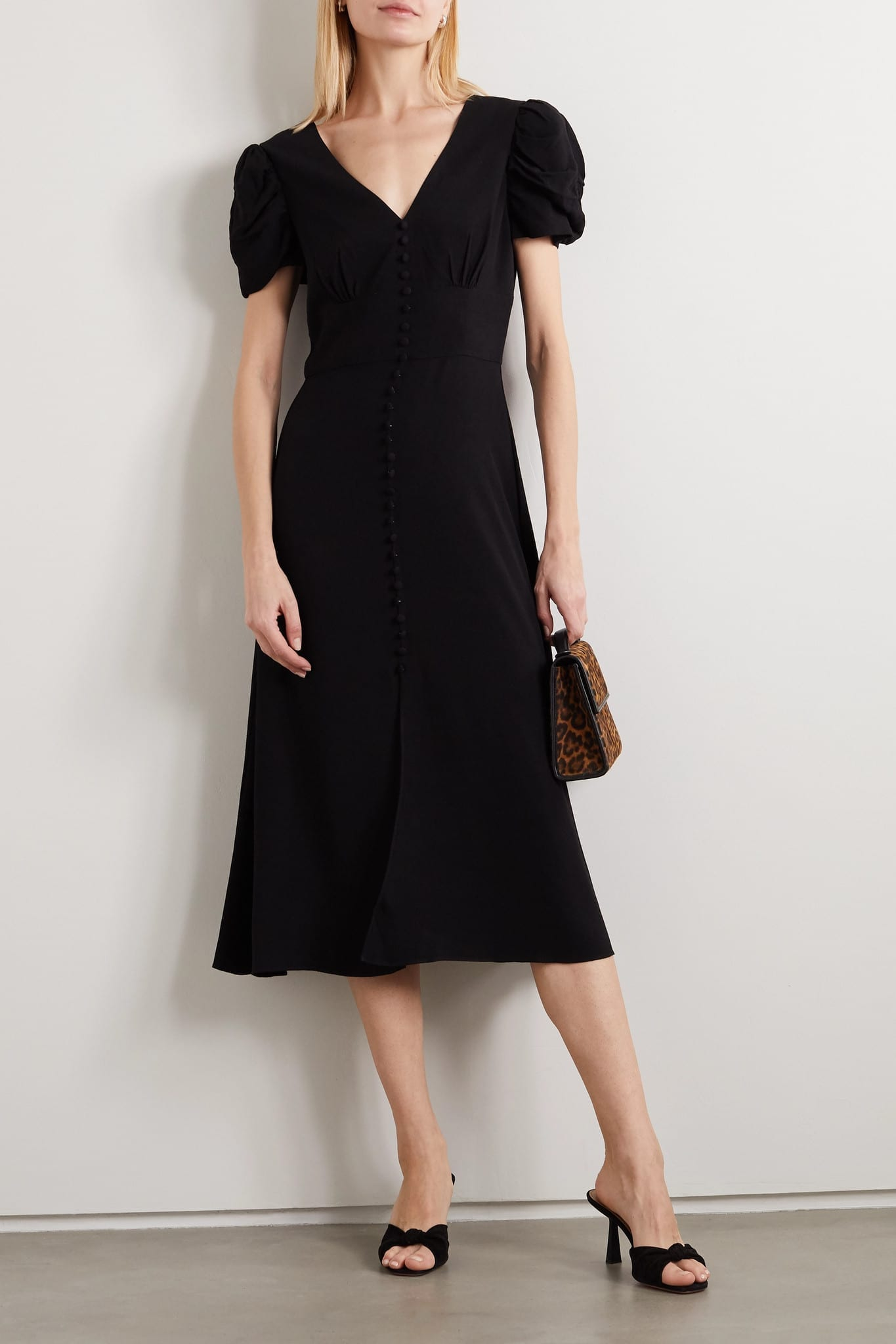 SALONI Margot Button-embellished Crepe Midi Dress