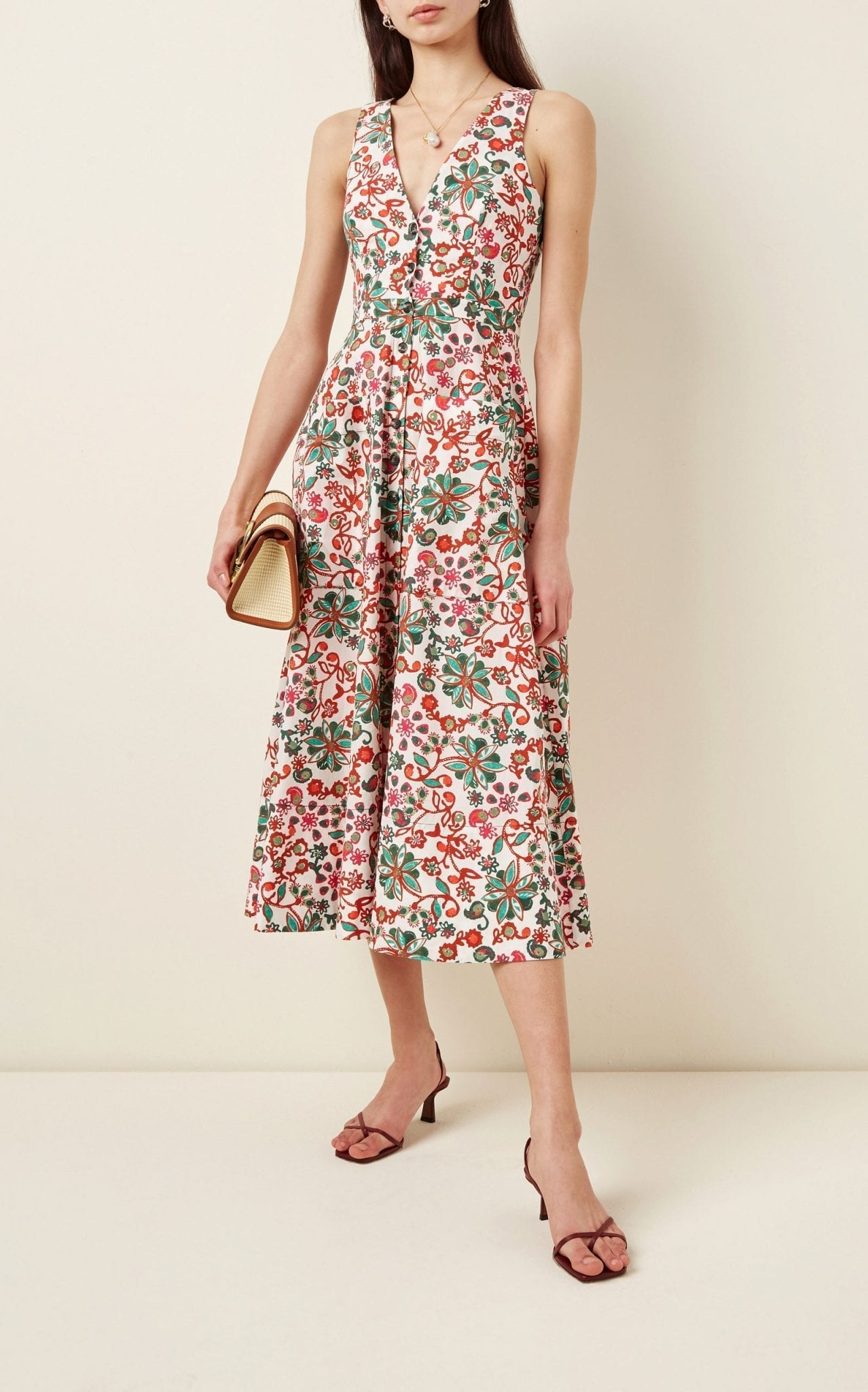 SALONI Zoey Ruffled Floral-Print Cotton Midi Dress