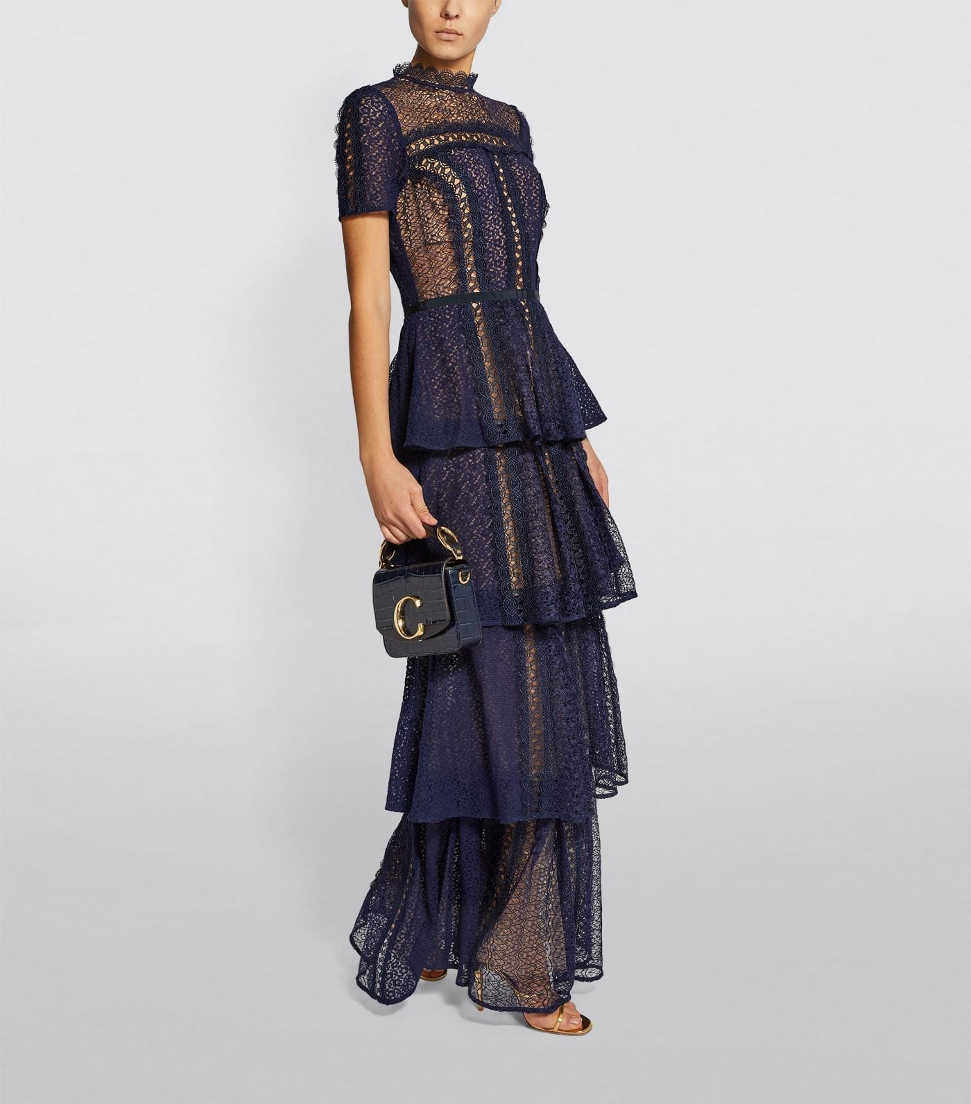 SELF-PORTRAIT Lace Tiered Maxi Dress