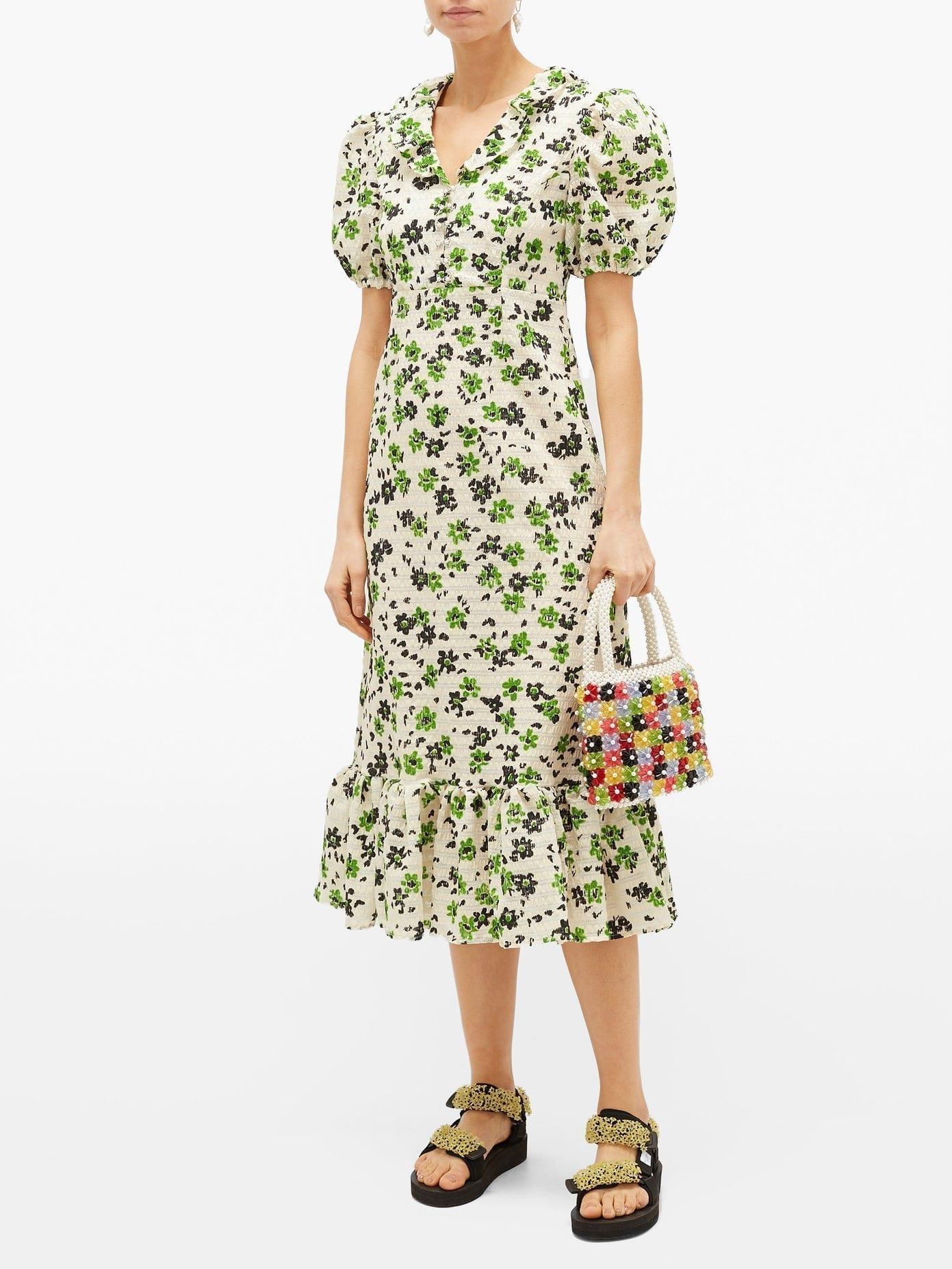 SHRIMPS Oakley Floral-print Shirred-seersucker Midi Dress