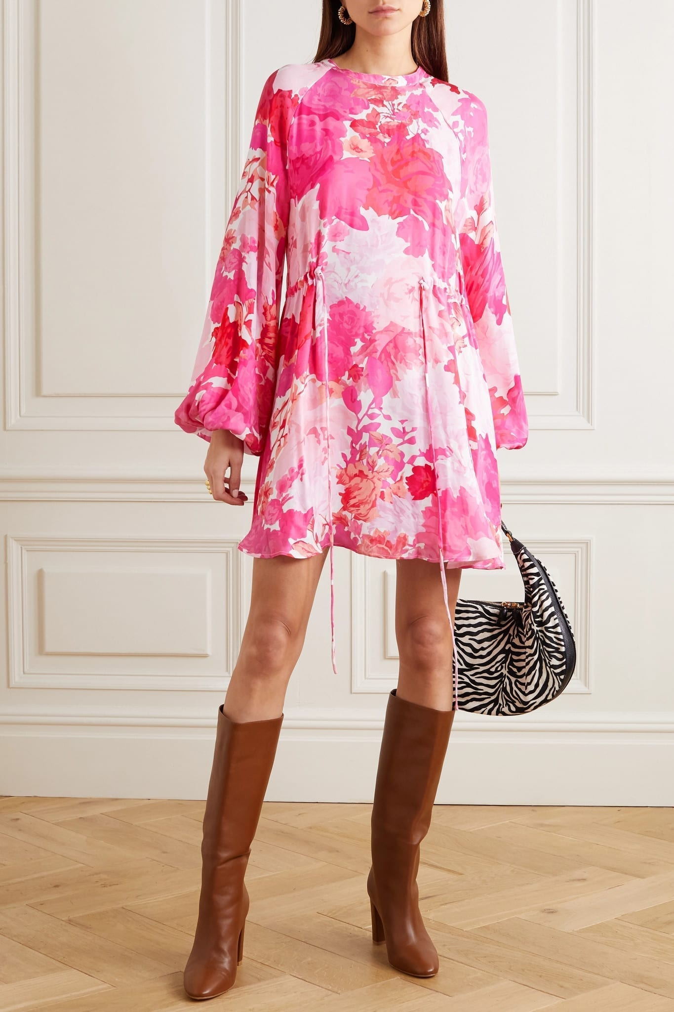 STINE GOYA Coco Floral-print Modal And Silk-blend Mini Dress