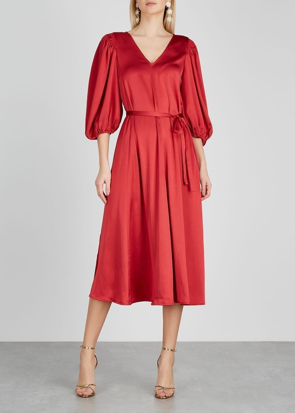 STINE GOYA Marlen Red Satin Midi Dress