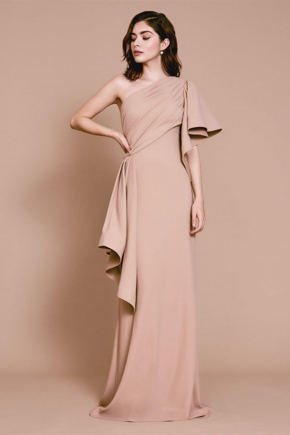 TADASHI SHOJI Aboah One-shoulder Flutter Sleeve Gown