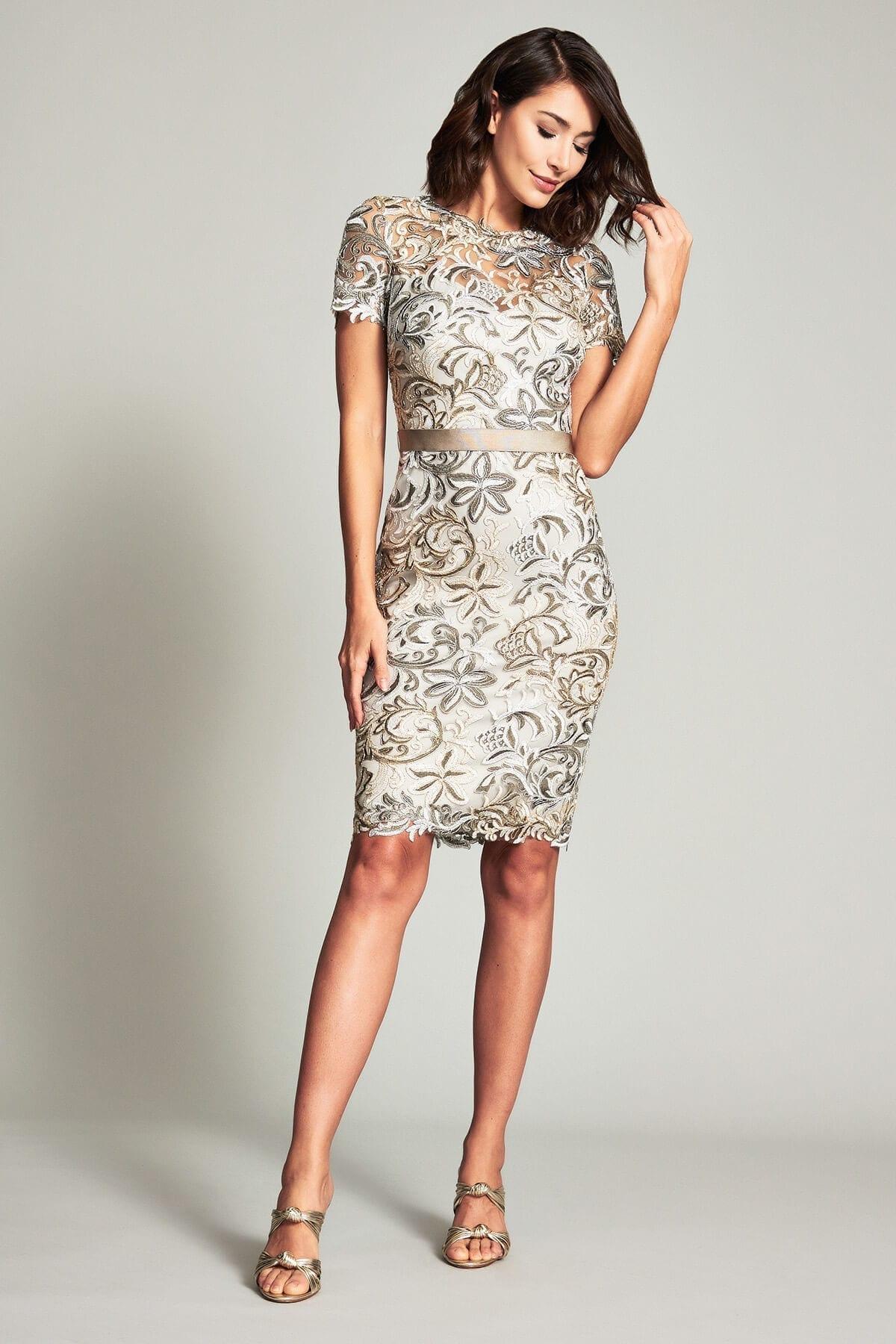 TADASHI SHOJI Brittan Metallic Sheath Dress