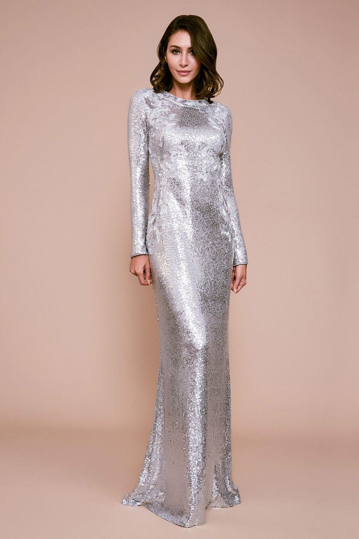 TADASHI SHOJI Brunei Long-sleeve Sequin Gown