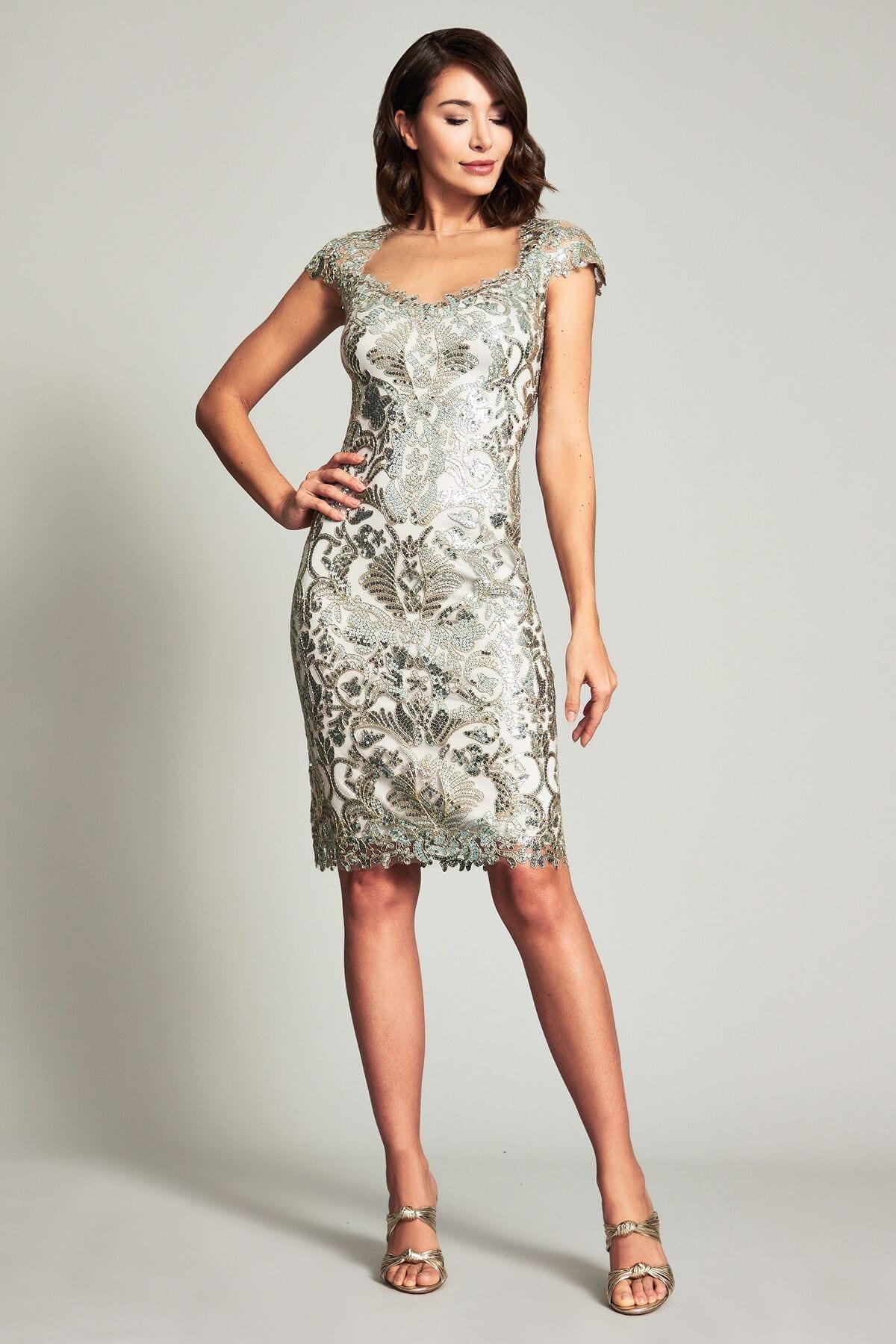 TADASHI SHOJI Herschel Portrait Metallic Dress