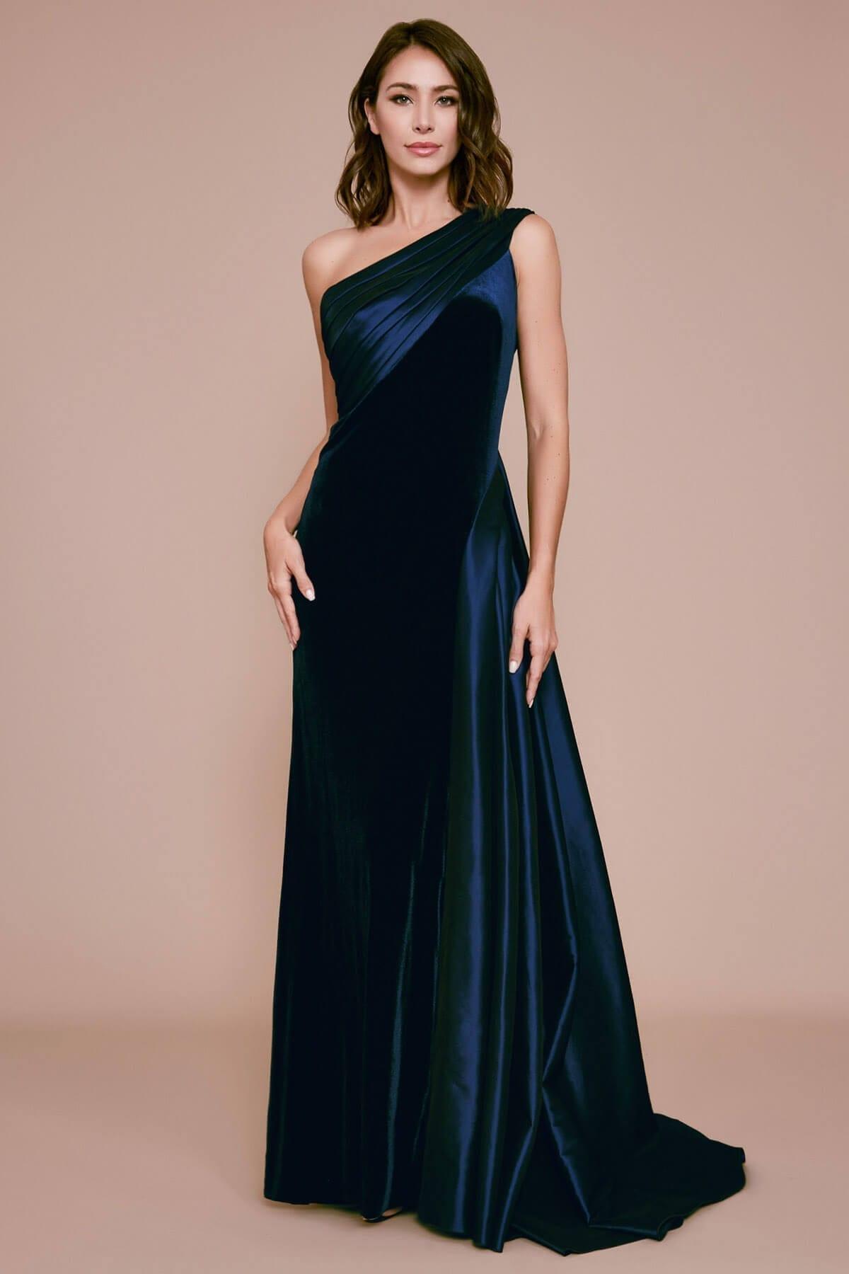 TADASHI SHOJI Irie One-shoulder Velvet & Taffeta Gown