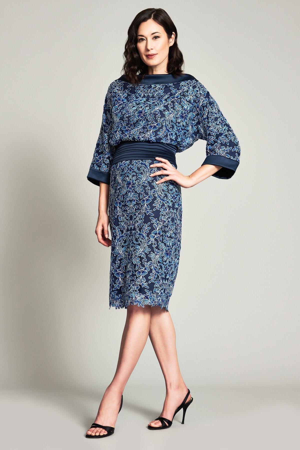 TADASHI SHOJI Mott High Neck Embroidered Dress