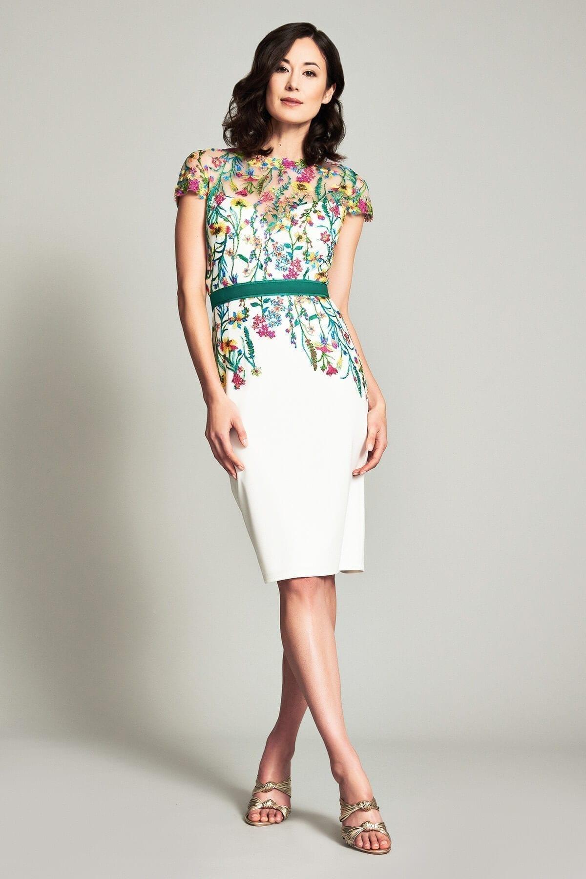 TADASHI SHOJI Narumi Neoprene Embroidered Dress