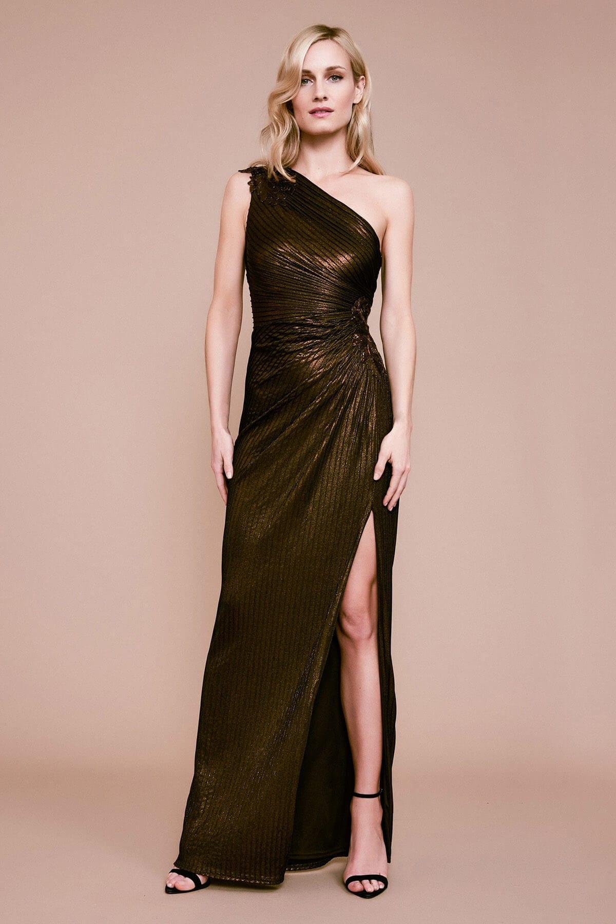 TADASHI SHOJI Nigella One-shoulder Metallic Pintuck Gown