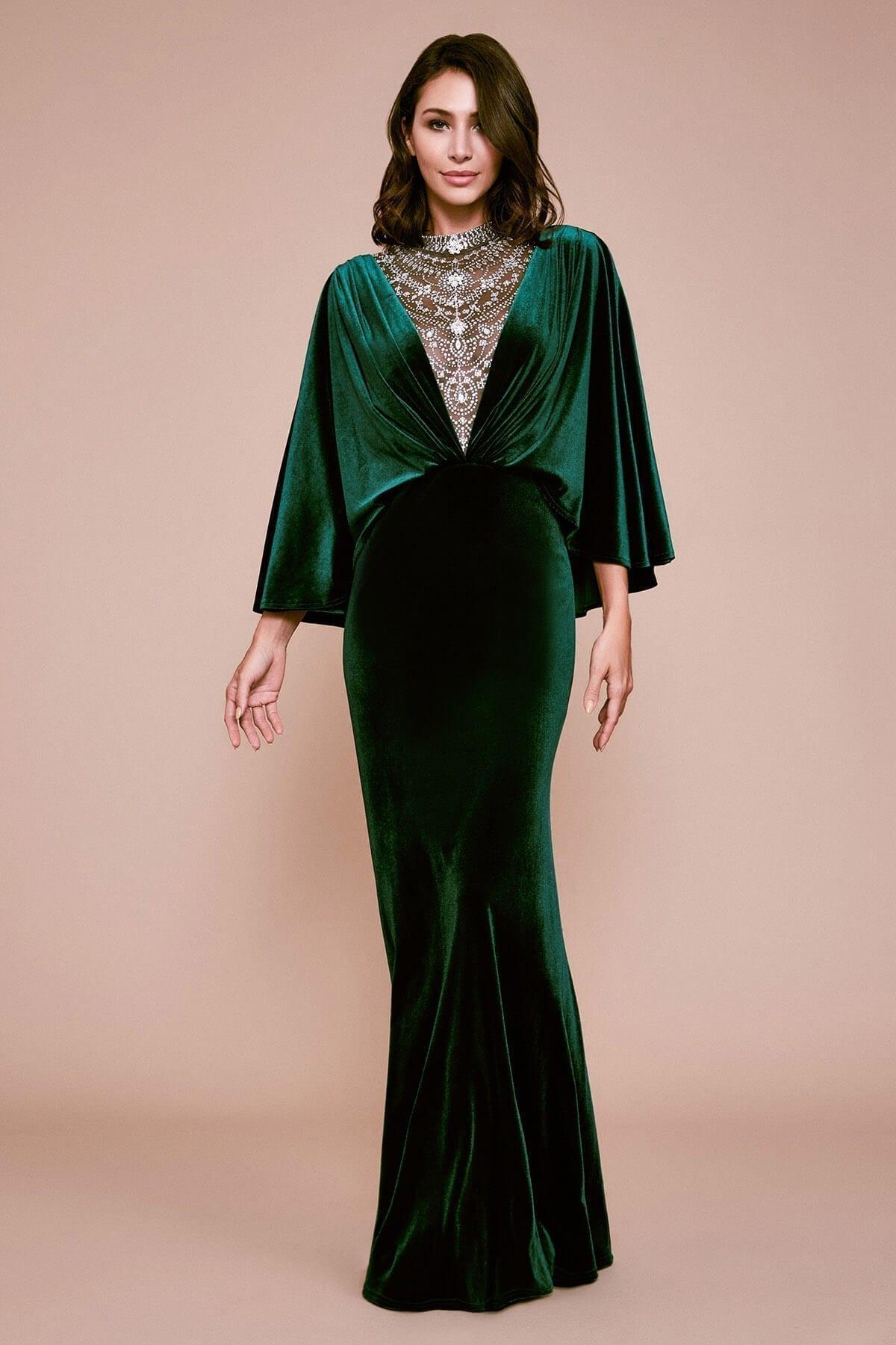 TADASHI SHOJI Panit Velvet Evening Gown